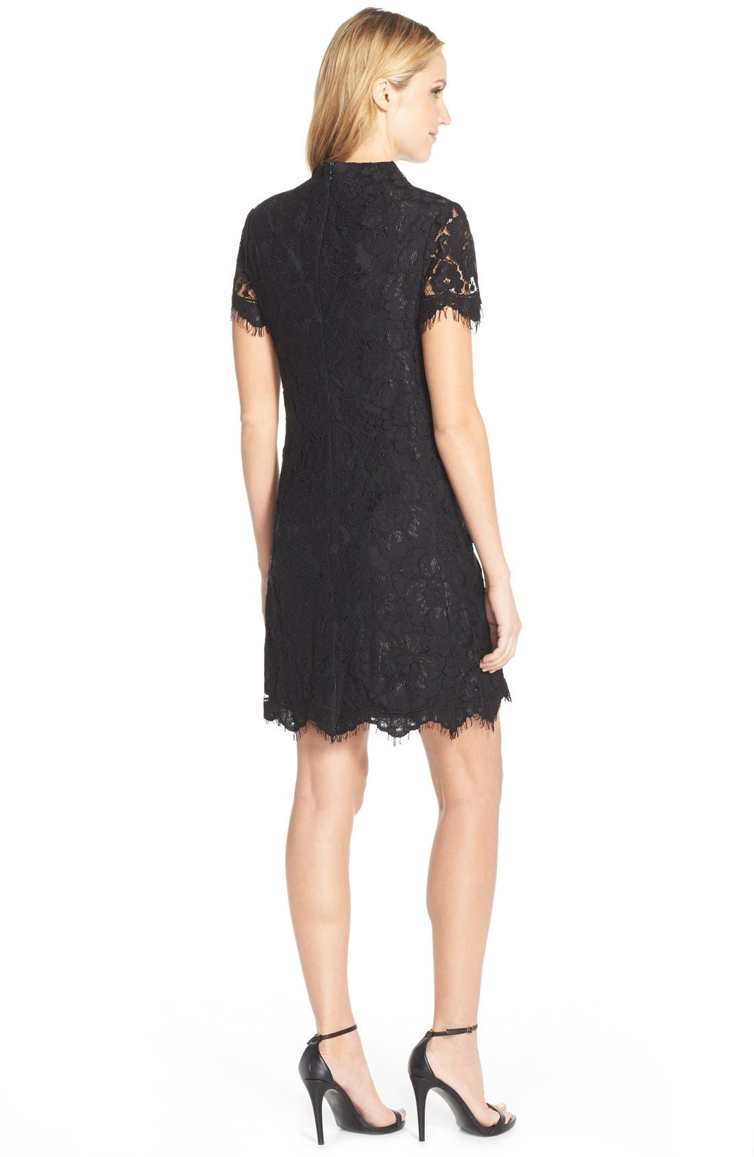 Alternate Image 2  - Betsey Johnson Mock Neck Lace Sheath Dress