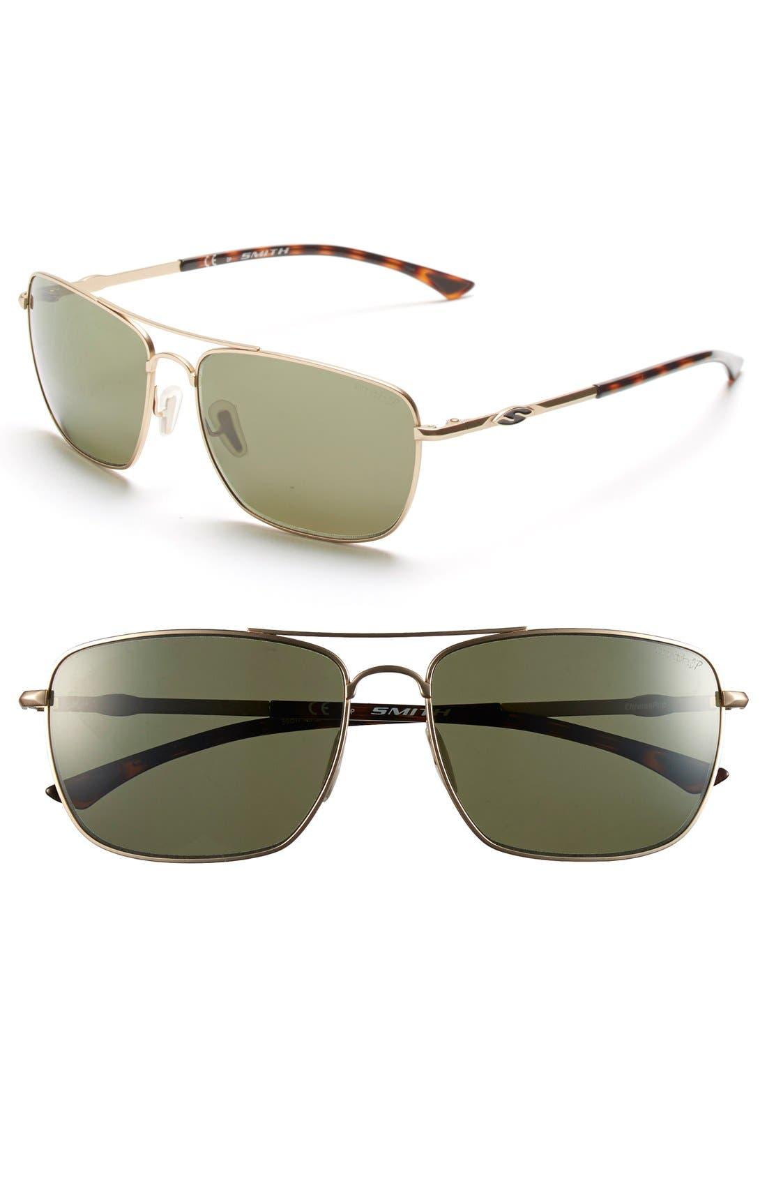 'Nomad' 59mm Polarized Sunglasses,                         Main,                         color, Matte Gold/ Polar Gray Green