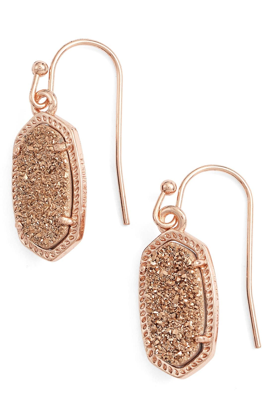Lee Small Drop Earrings,                             Main thumbnail 1, color,                             Rose Drusy/ Rose Gold