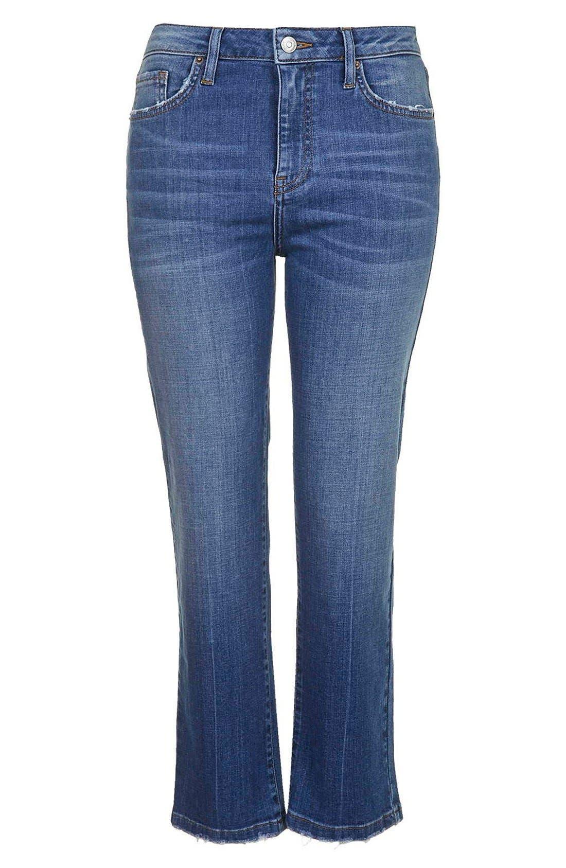 Alternate Image 2  - TopshopFlared Crop Jeans (Mid Denim) (Petite)