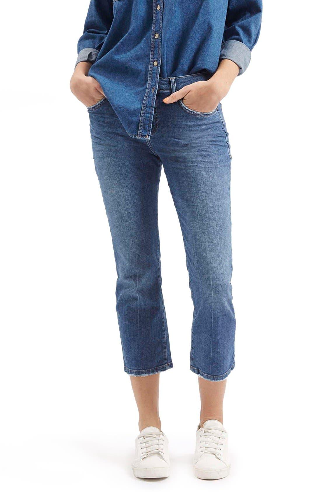 Main Image - TopshopFlared Crop Jeans (Mid Denim) (Petite)
