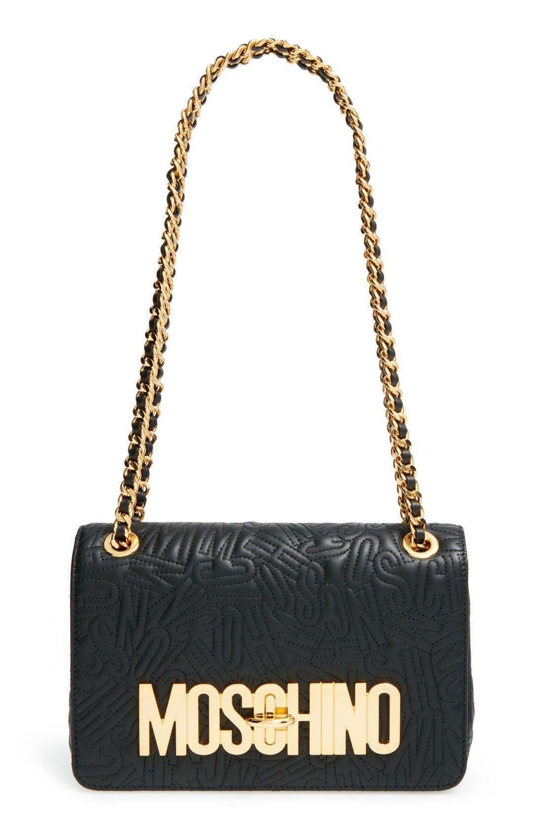 Alternate Image 1 Selected - Moschino Logo Embossed Leather Crossbody Bag