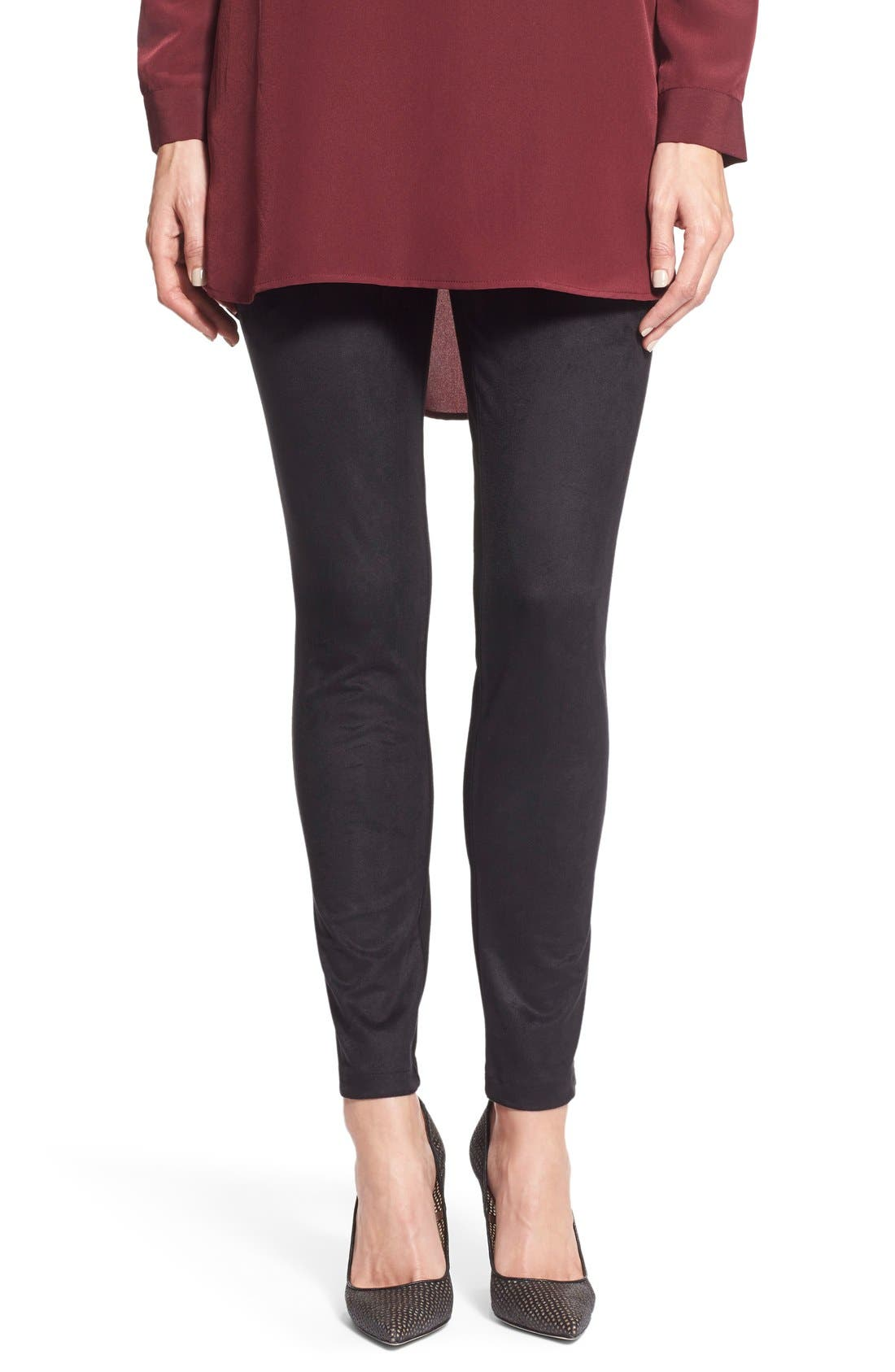 Two by Vince Camuto Faux Suede & Ponte Leggings,                         Main,                         color, Rich Black