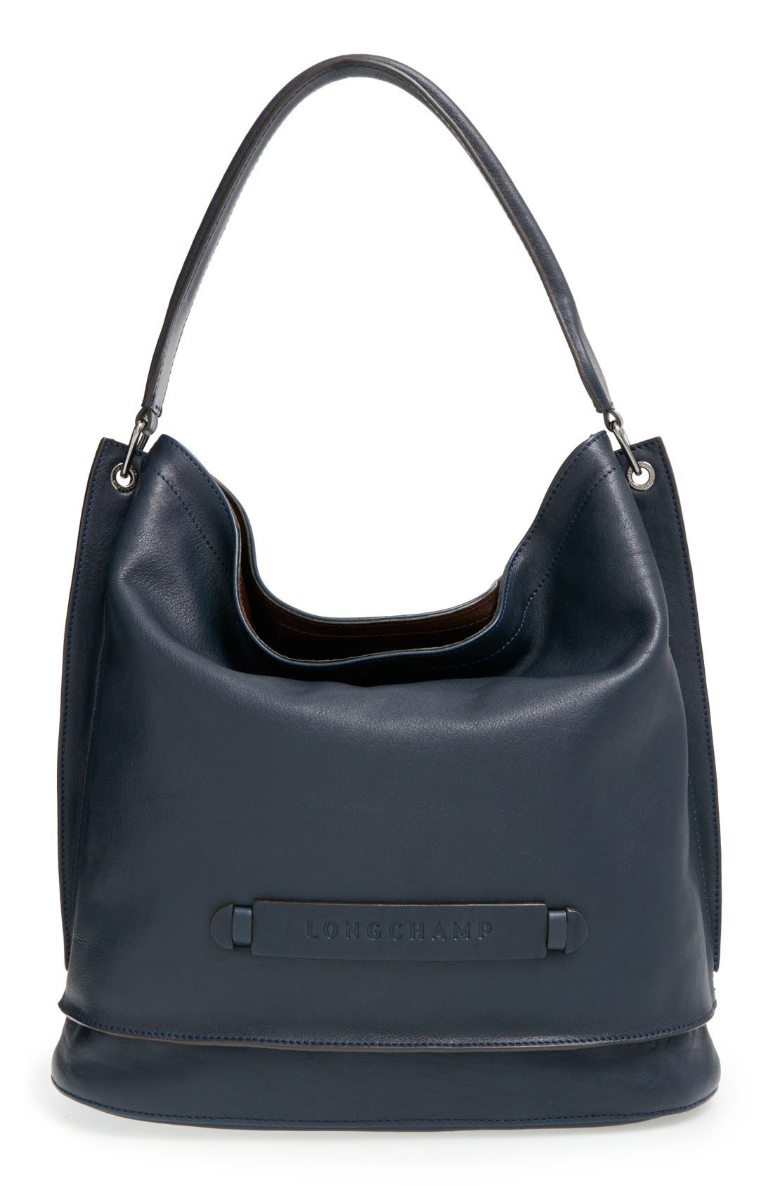 '3D' Leather Hobo,                         Main,                         color, Midnight