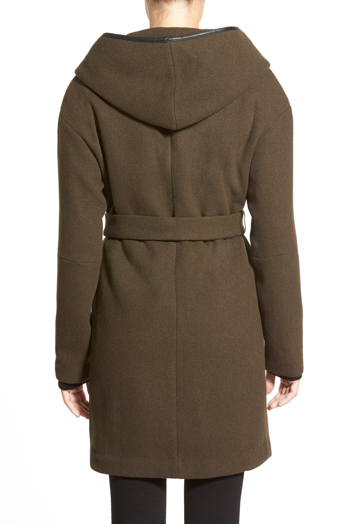 Alternate Image 2  - Calvin Klein Hooded Wool Blend Wrap Coat