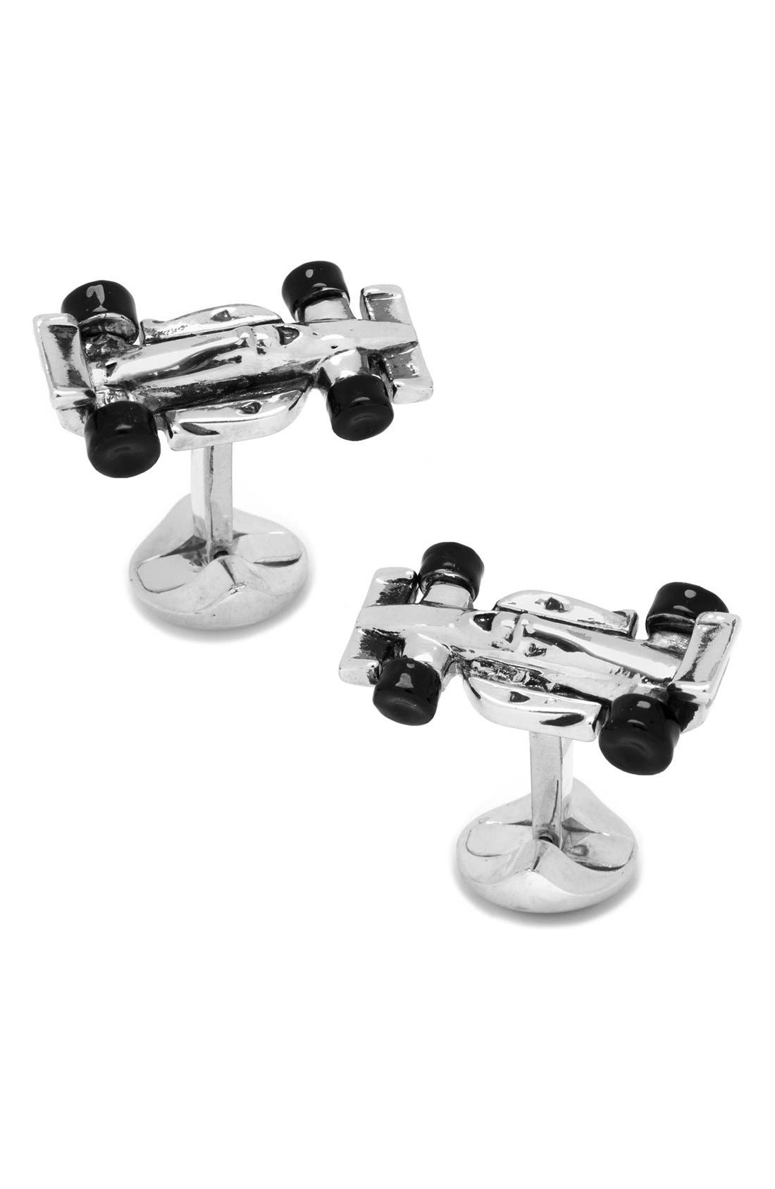 Racecar Cuff Links,                         Main,                         color, Silver