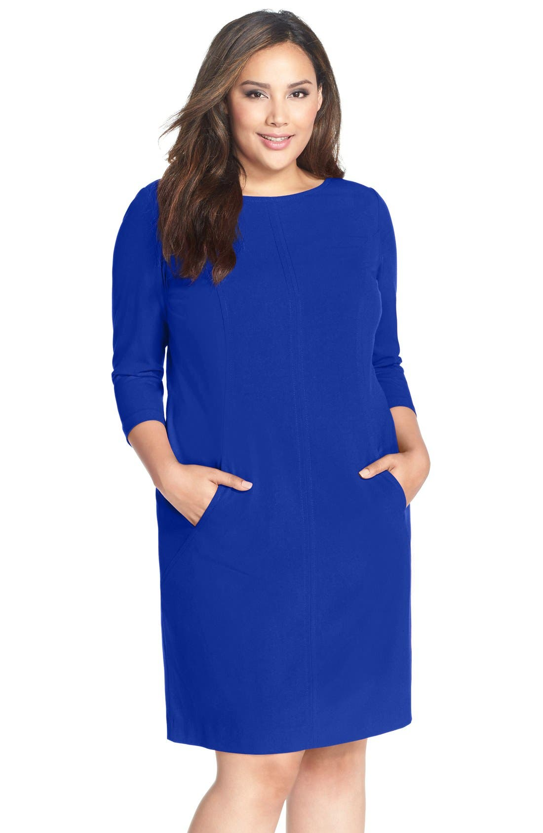 by Arthur S. Levine Seamed A-Line Dress,                             Main thumbnail 1, color,                             Cobalt