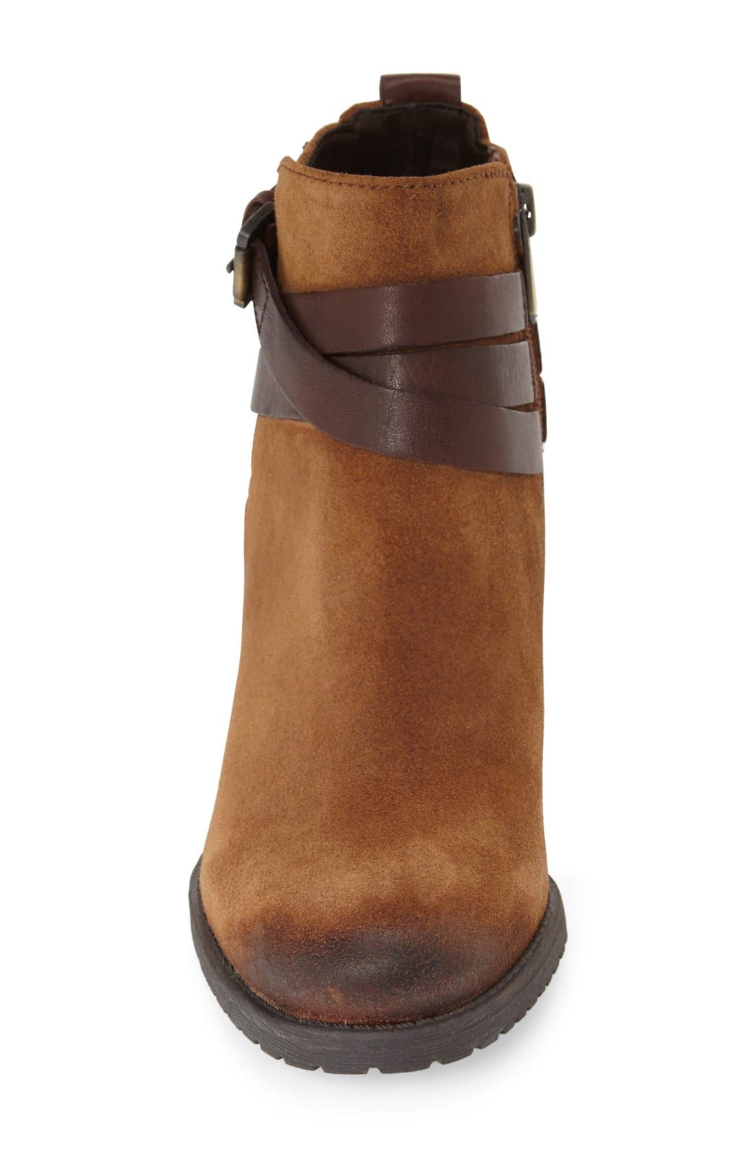 'Hannah' Belted Chelsea Bootie,                             Alternate thumbnail 3, color,                             Mocha Latte/ Sienna