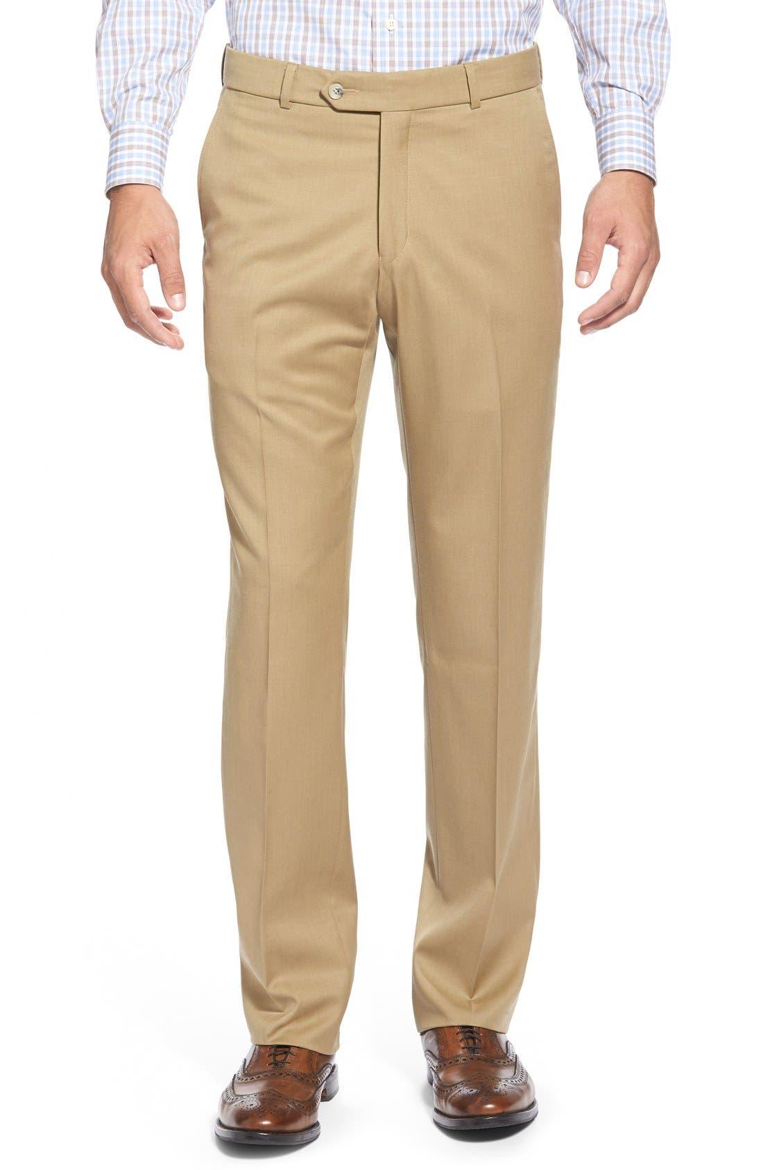 BALLIN Flat Front Solid Wool Trousers in Khaki