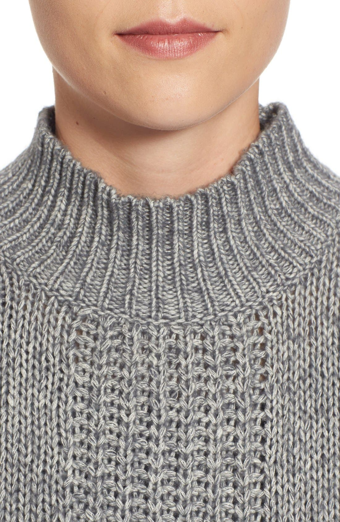 Pattern Front Mock Neck Sweater,                             Alternate thumbnail 4, color,                             Charcoal Marl