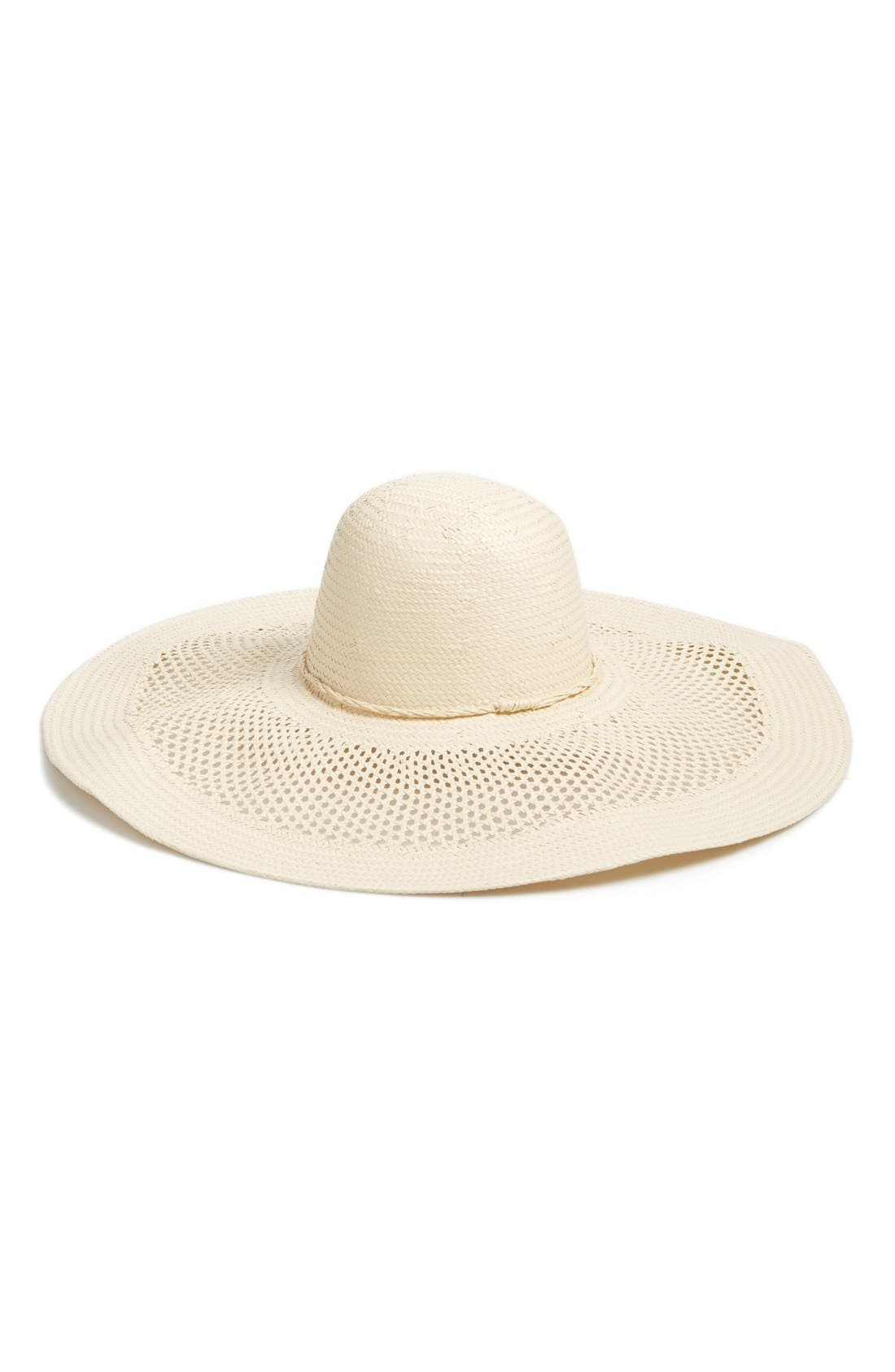 Open Weave Floppy Straw Hat,                             Main thumbnail 1, color,                             Ivory Vanilla