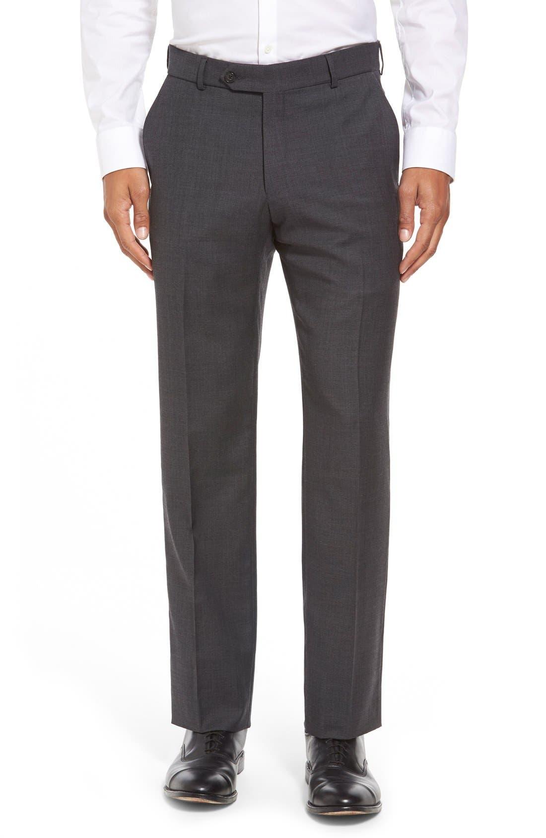 BALLIN Flat Front Sharkskin Wool Trousers in Dark Grey