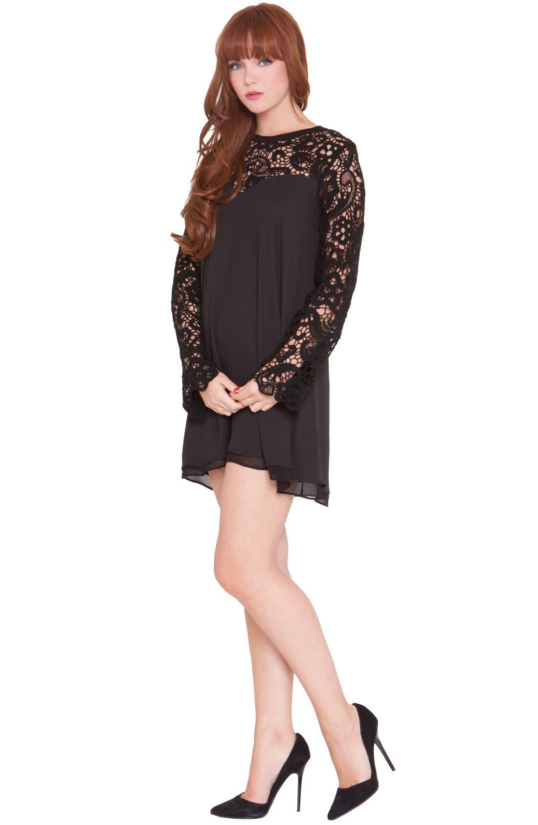 Olian'Vero' Lace Sleeve Maternity Dress