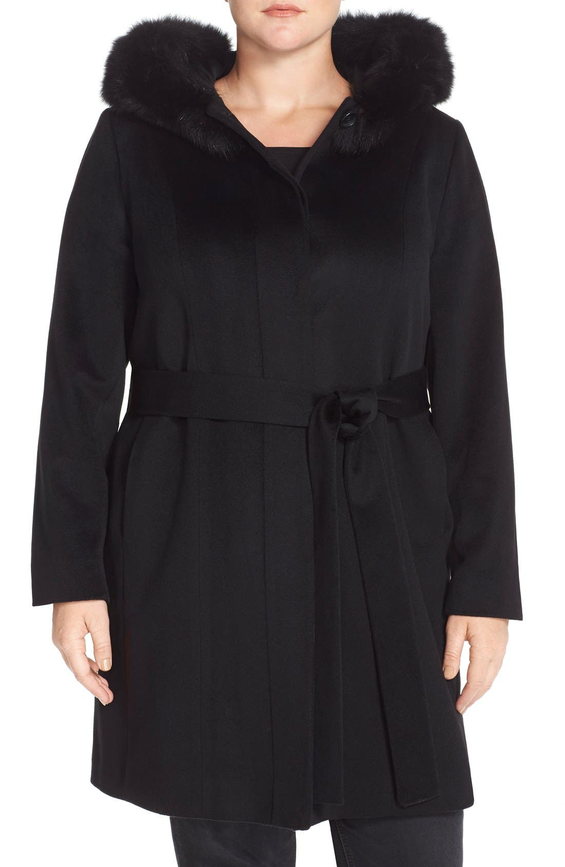 Fleurette Wool Wrap Coat with Genuine Fox Fur (Plus Size)