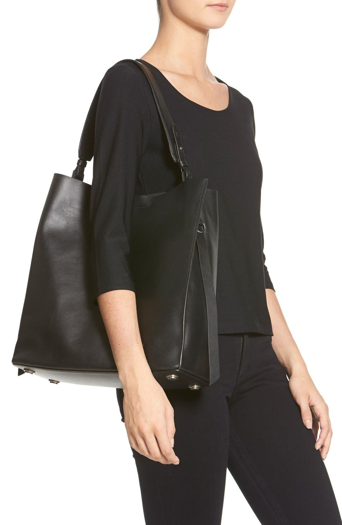 'Paradise North/South' Calfskin Leather Tote,                             Alternate thumbnail 2, color,                             Black/ Black