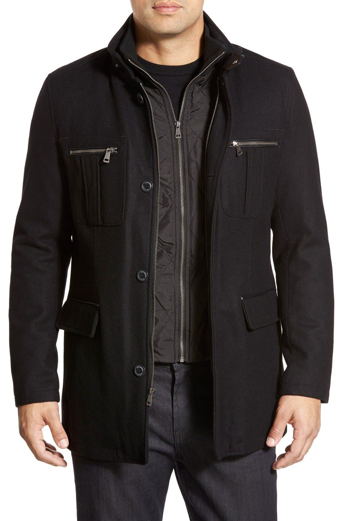 Wool Blend Jacket,                         Main,                         color, Black