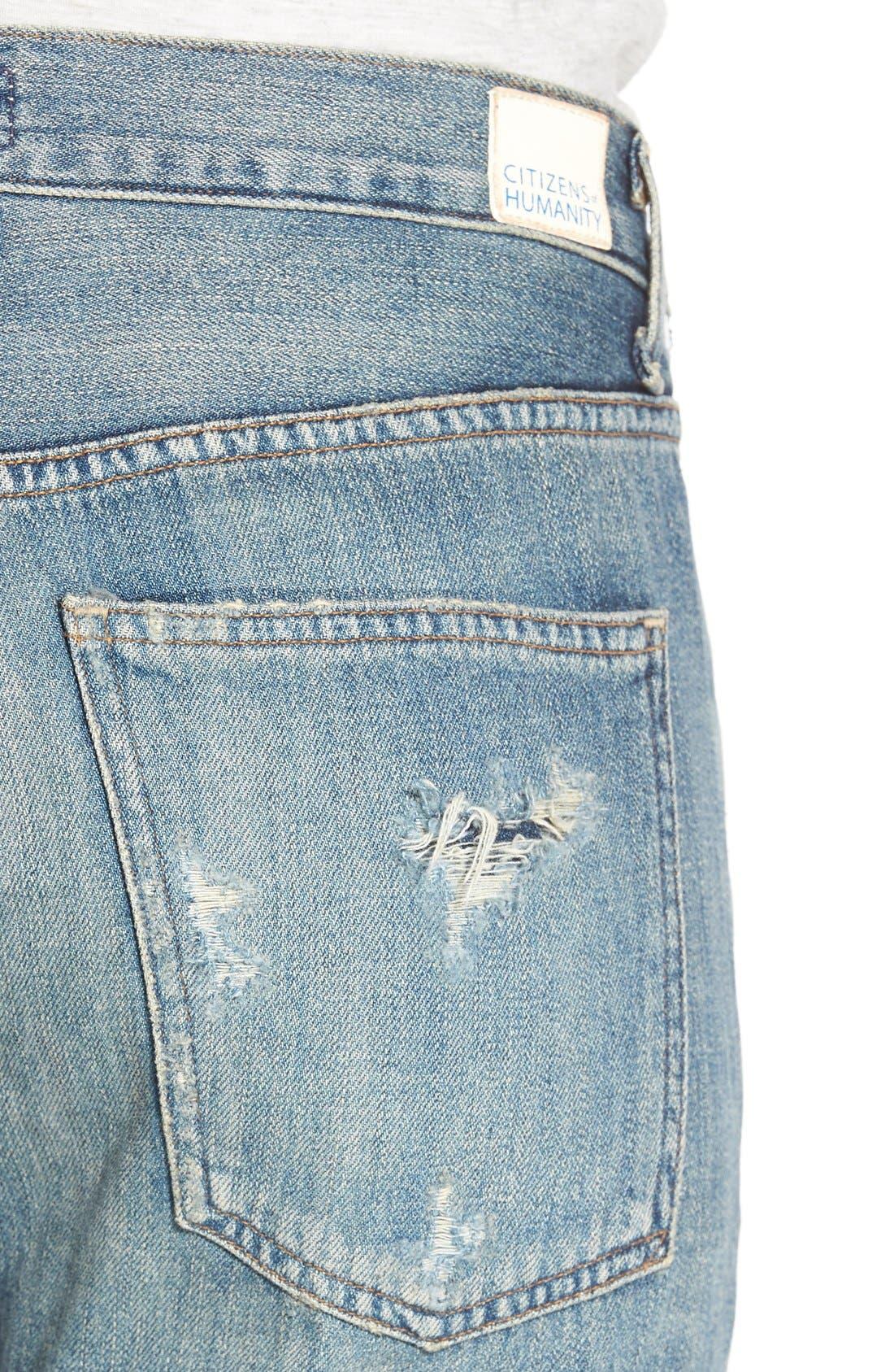 'Sasha' DestroyedFlare Jeans,                             Alternate thumbnail 4, color,                             Freemont