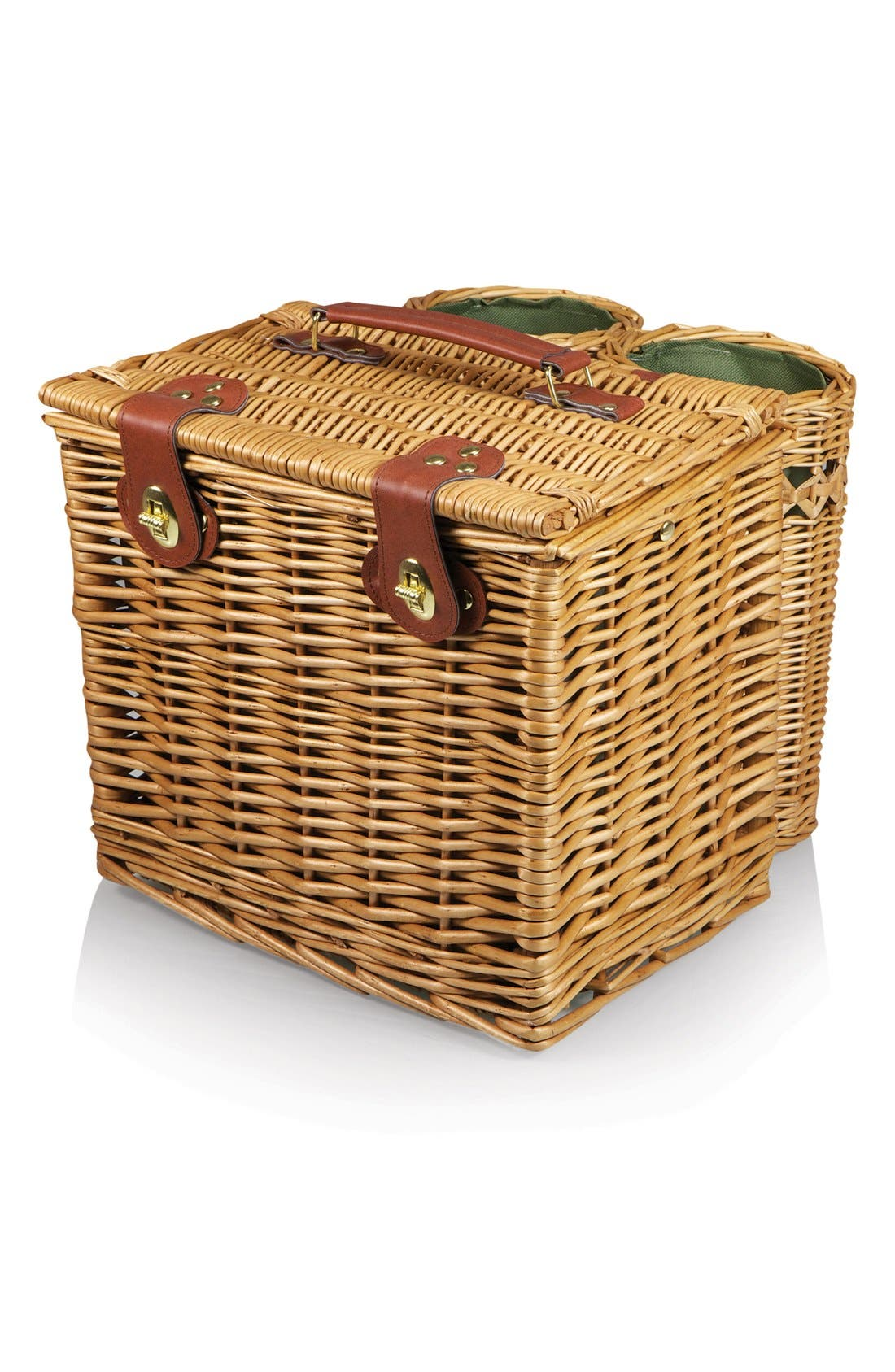 'Vino' Wine & Cheese Picnic Basket,                             Alternate thumbnail 3, color,                             Green