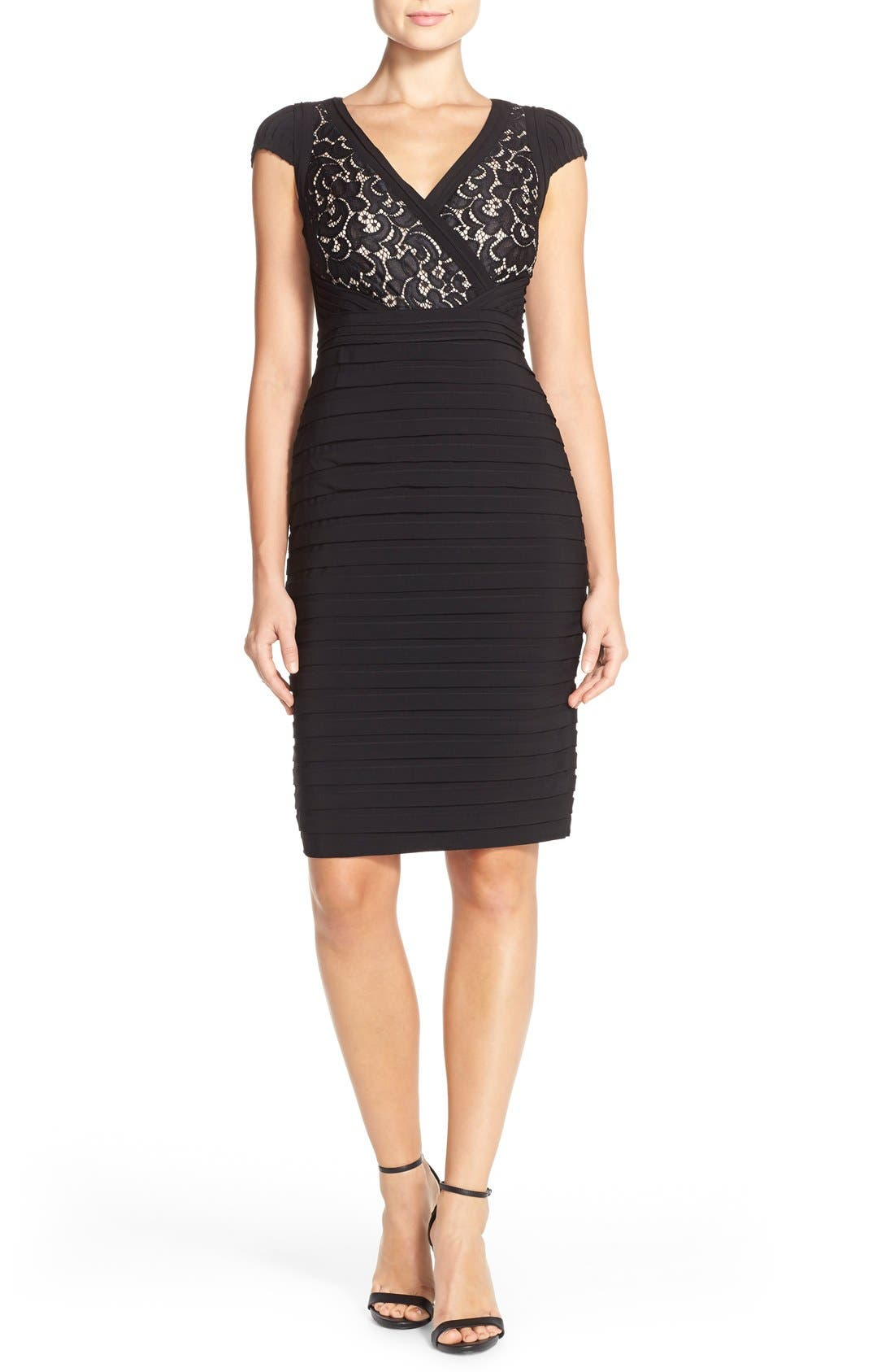 Lace & Jersey Sheath Dress,                             Alternate thumbnail 4, color,                             Black