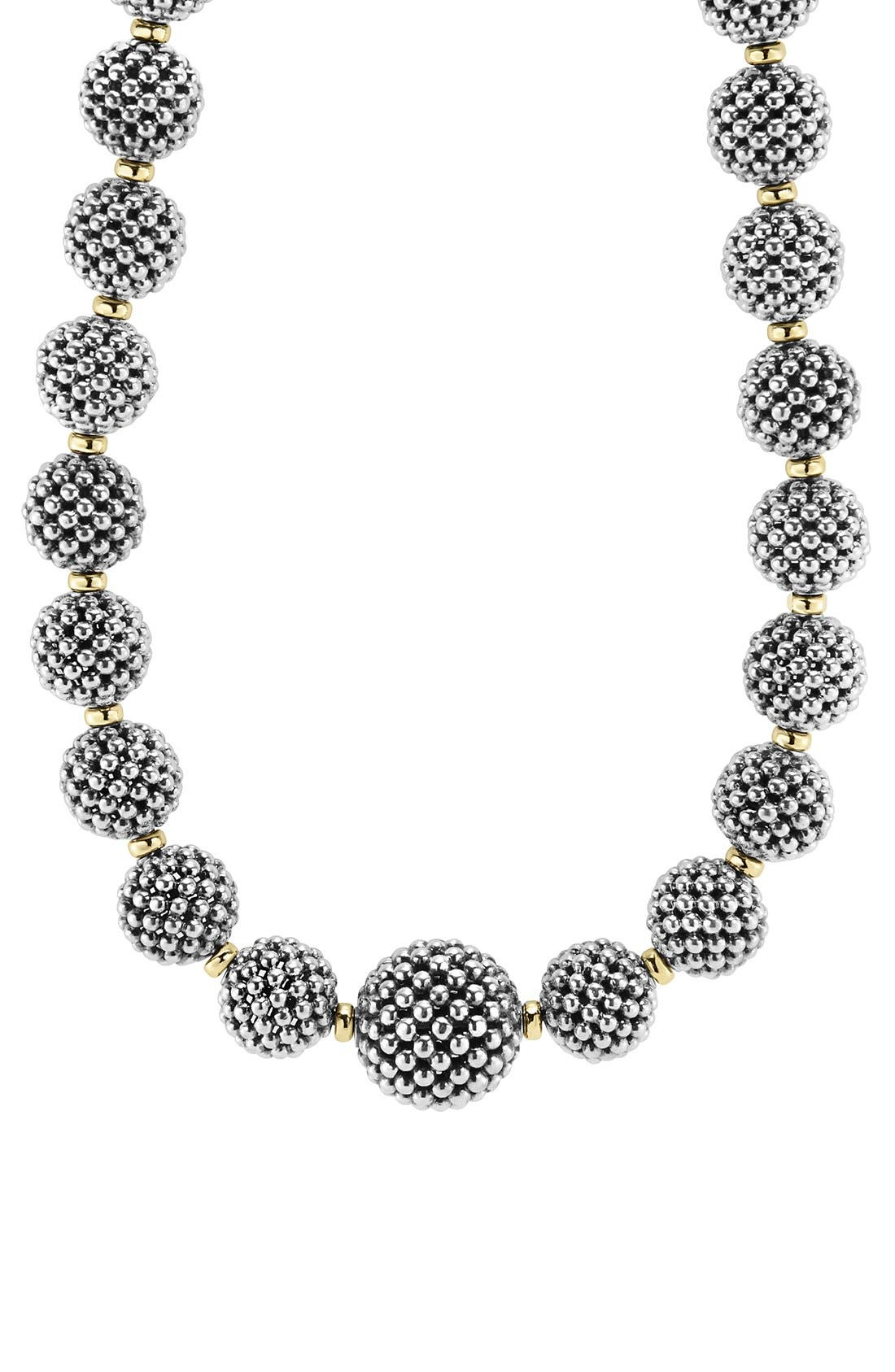 'Caviar Forever' Lattice Ball Necklace,                             Alternate thumbnail 2, color,                             Silver
