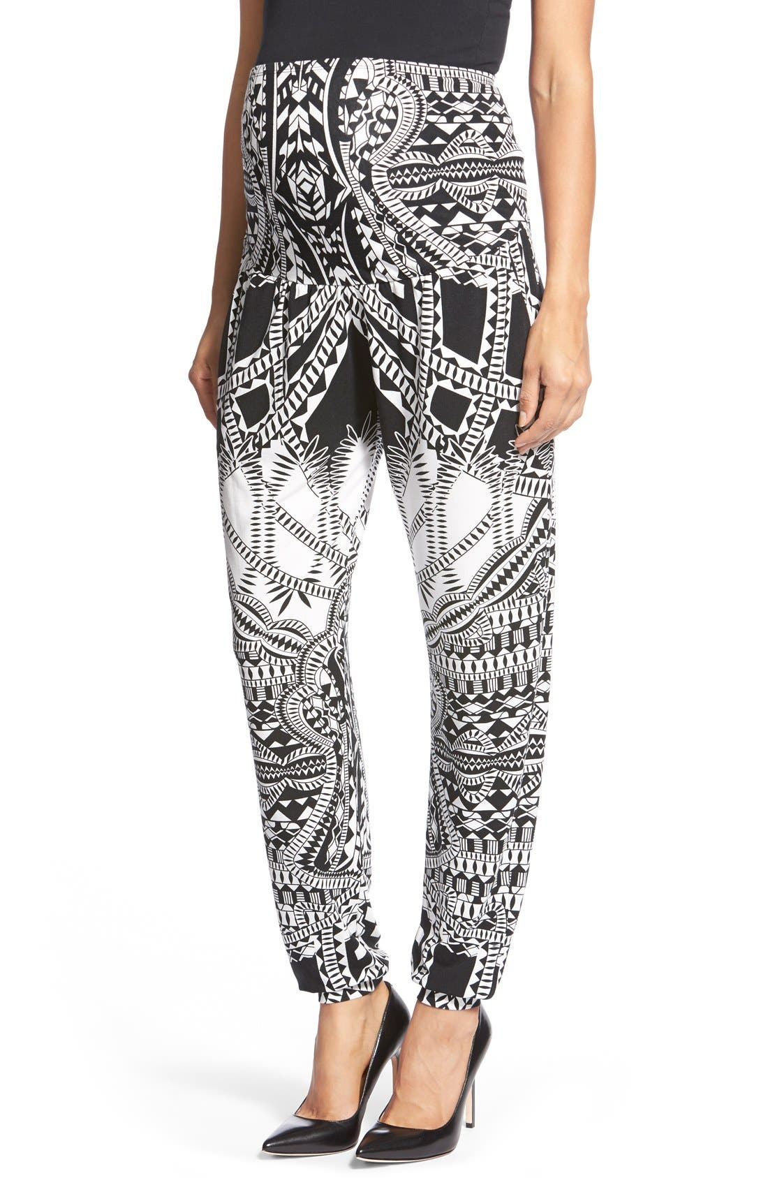 'Liviana' Tapered Maternity Pants,                         Main,                         color, Tribal Placement