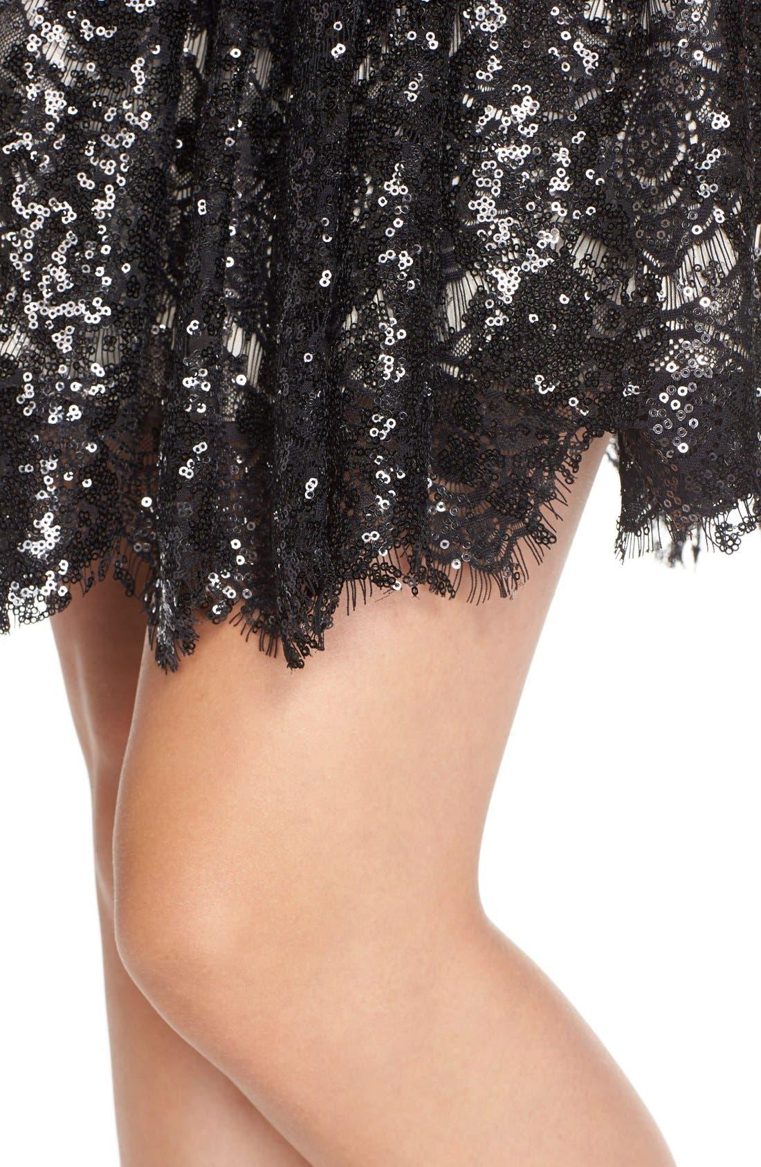 'Sabrina' Sequin Fit & Flare Dress,                             Alternate thumbnail 4, color,                             Black