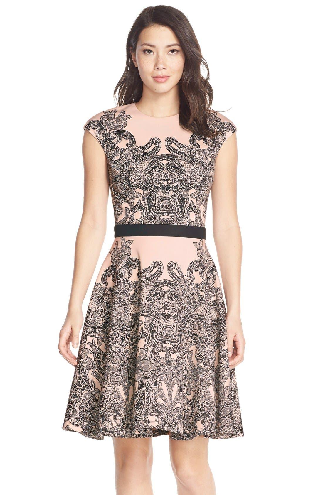 Main Image - MaggyLondon Print Scuba Fit & Flare Dress (Regular & Petite)
