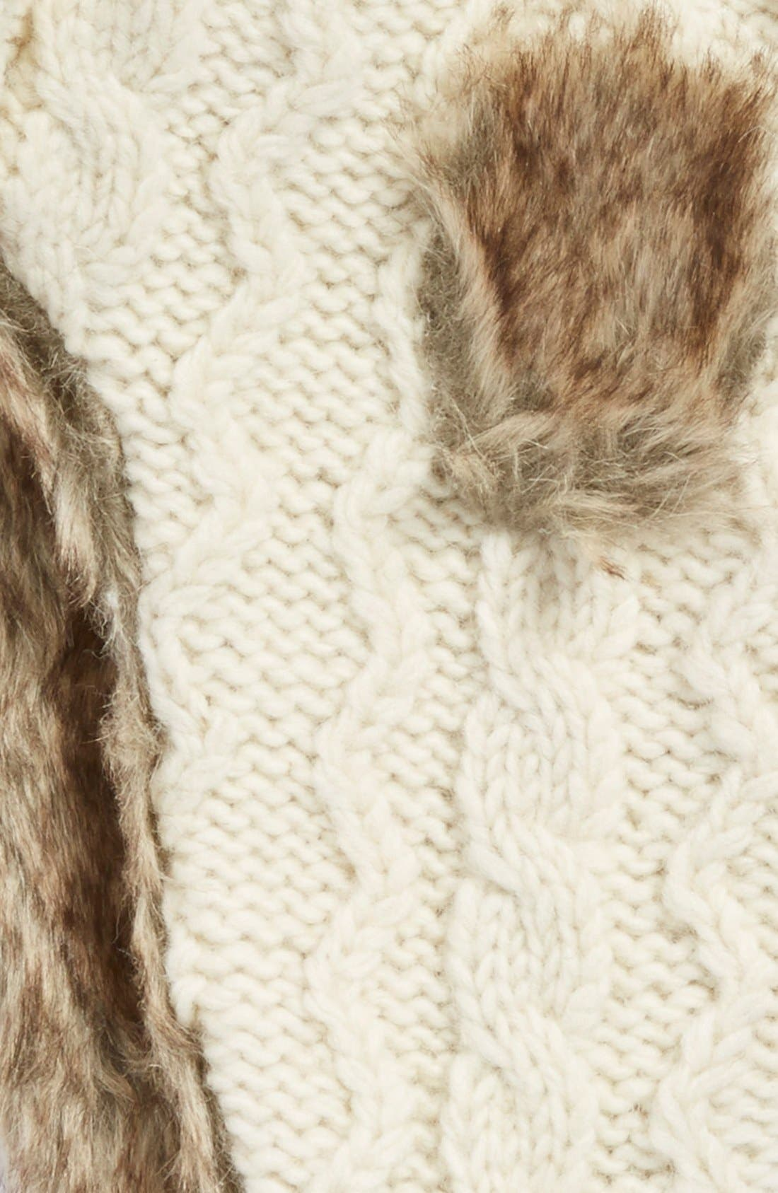 Nirvanna Designs Cable Knit Ear Flap Hat with Faux Fur Trim,                             Alternate thumbnail 2, color,                             White