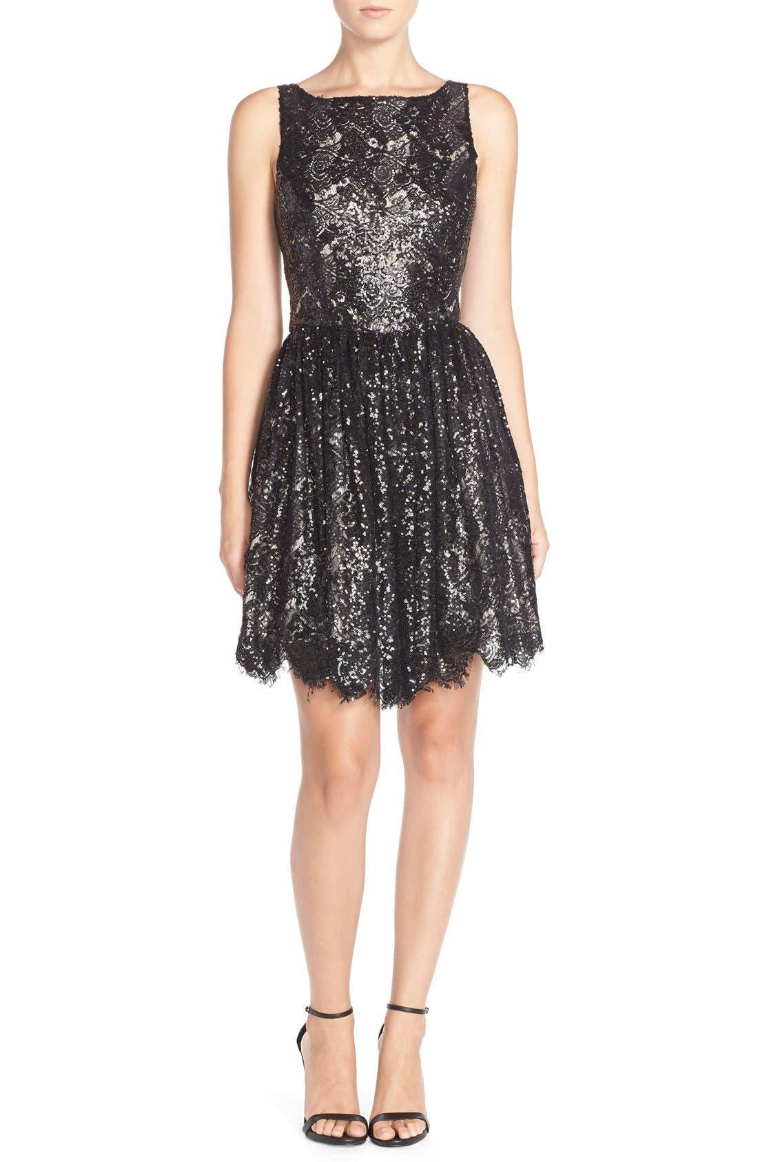 'Sabrina' Sequin Fit & Flare Dress,                             Alternate thumbnail 6, color,                             Black