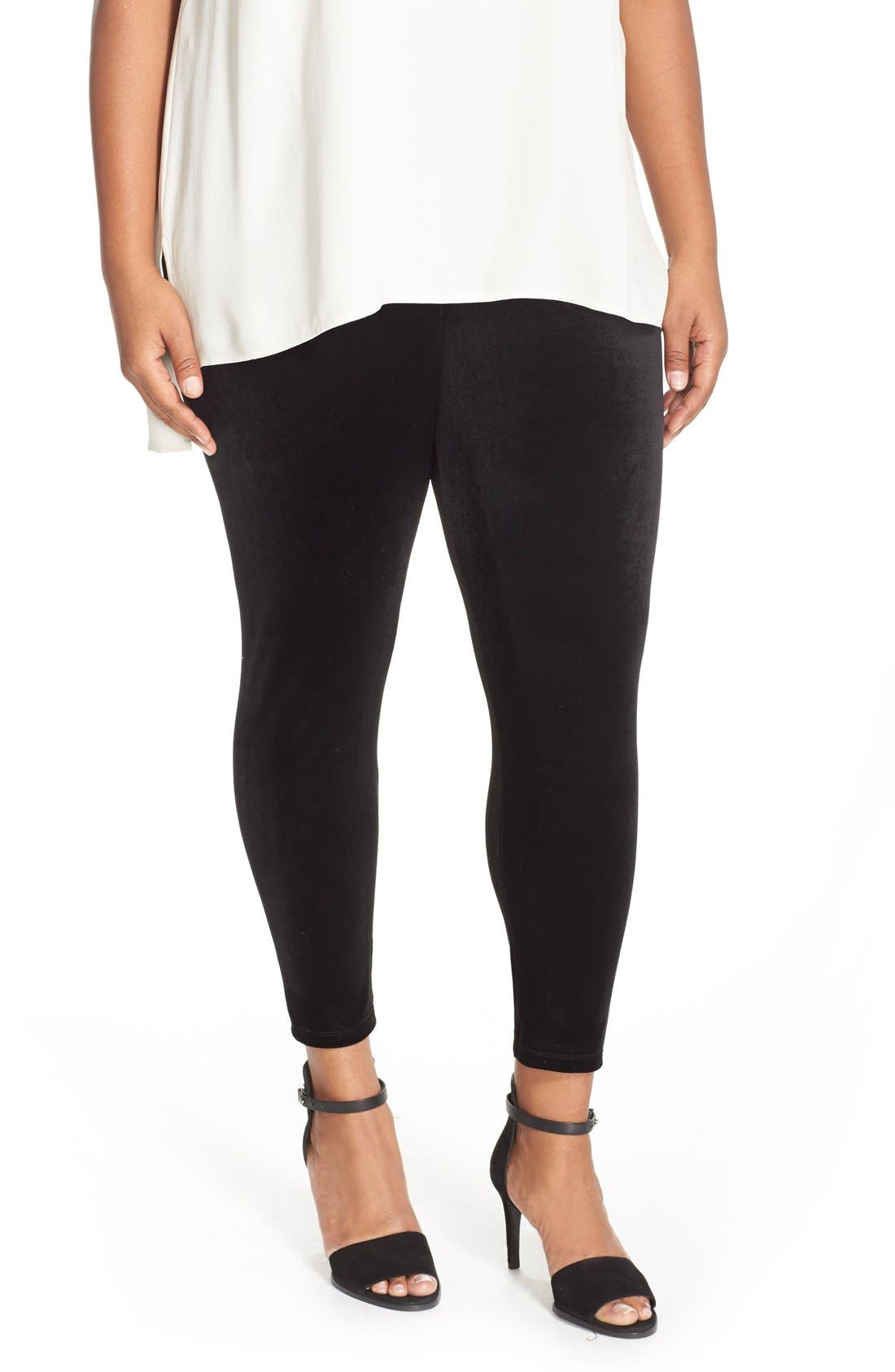 Eileen Fisher Stretch Velvet Ankle Leggings (Plus Size)