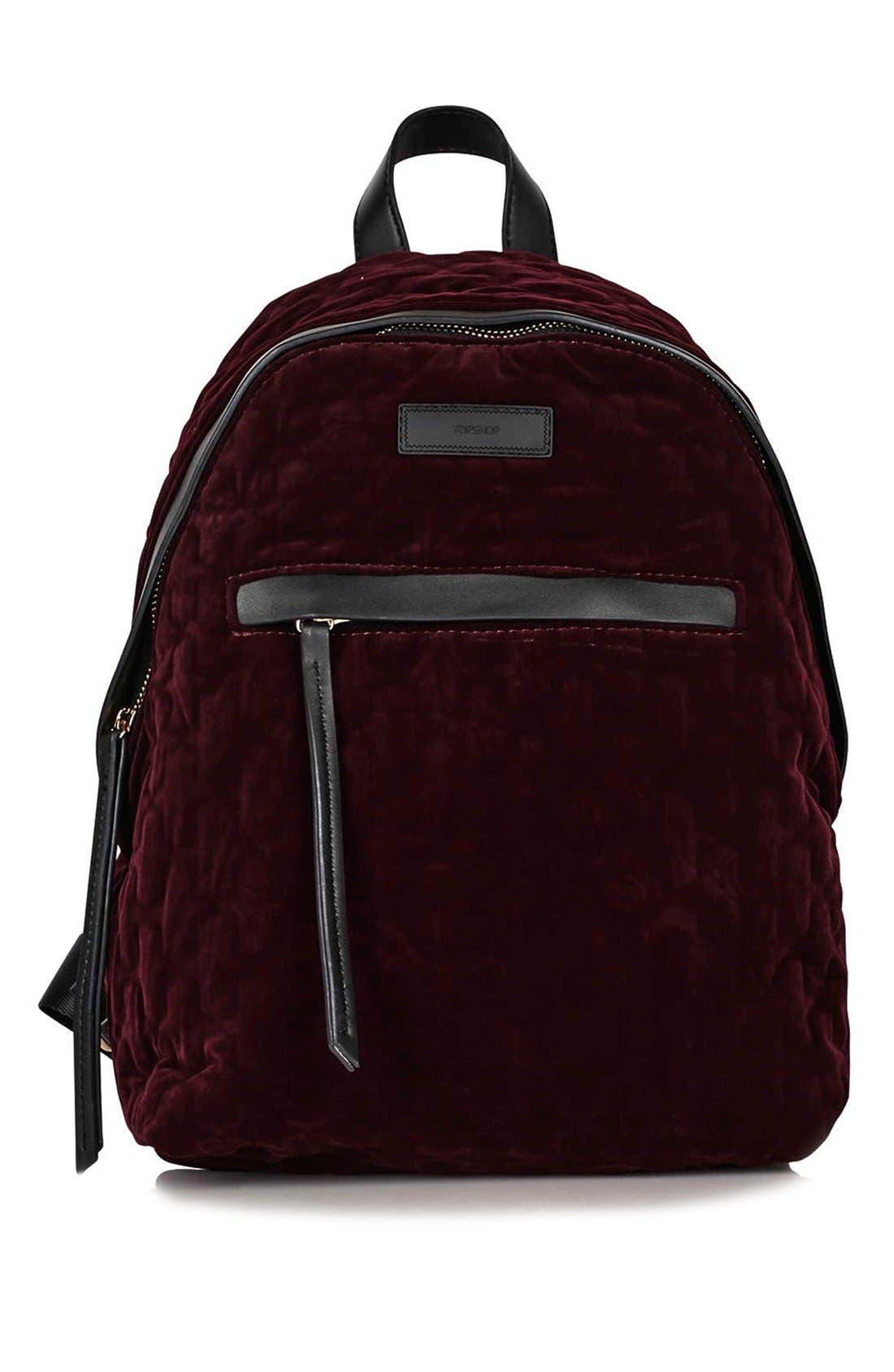 Main Image - Topshop 'Bristol' Velvet Backpack