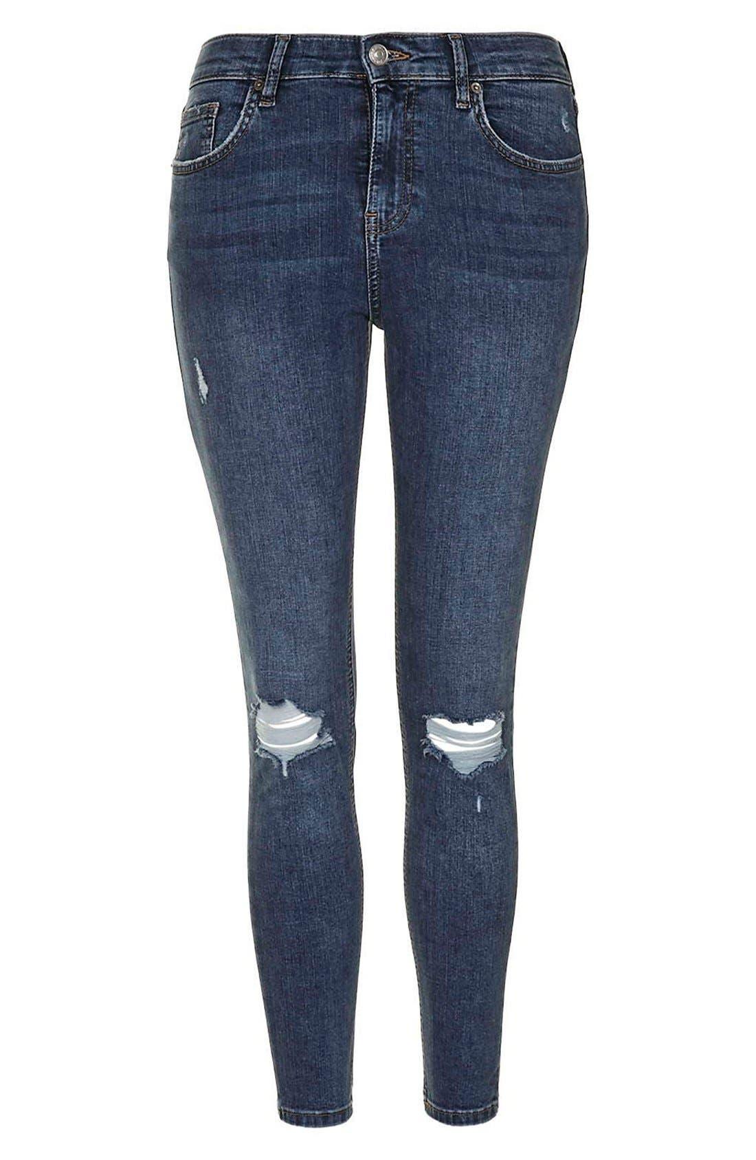 Moto 'Jamie' Ripped Skinny Ankle Jeans,                             Alternate thumbnail 4, color,                             Mid Denim