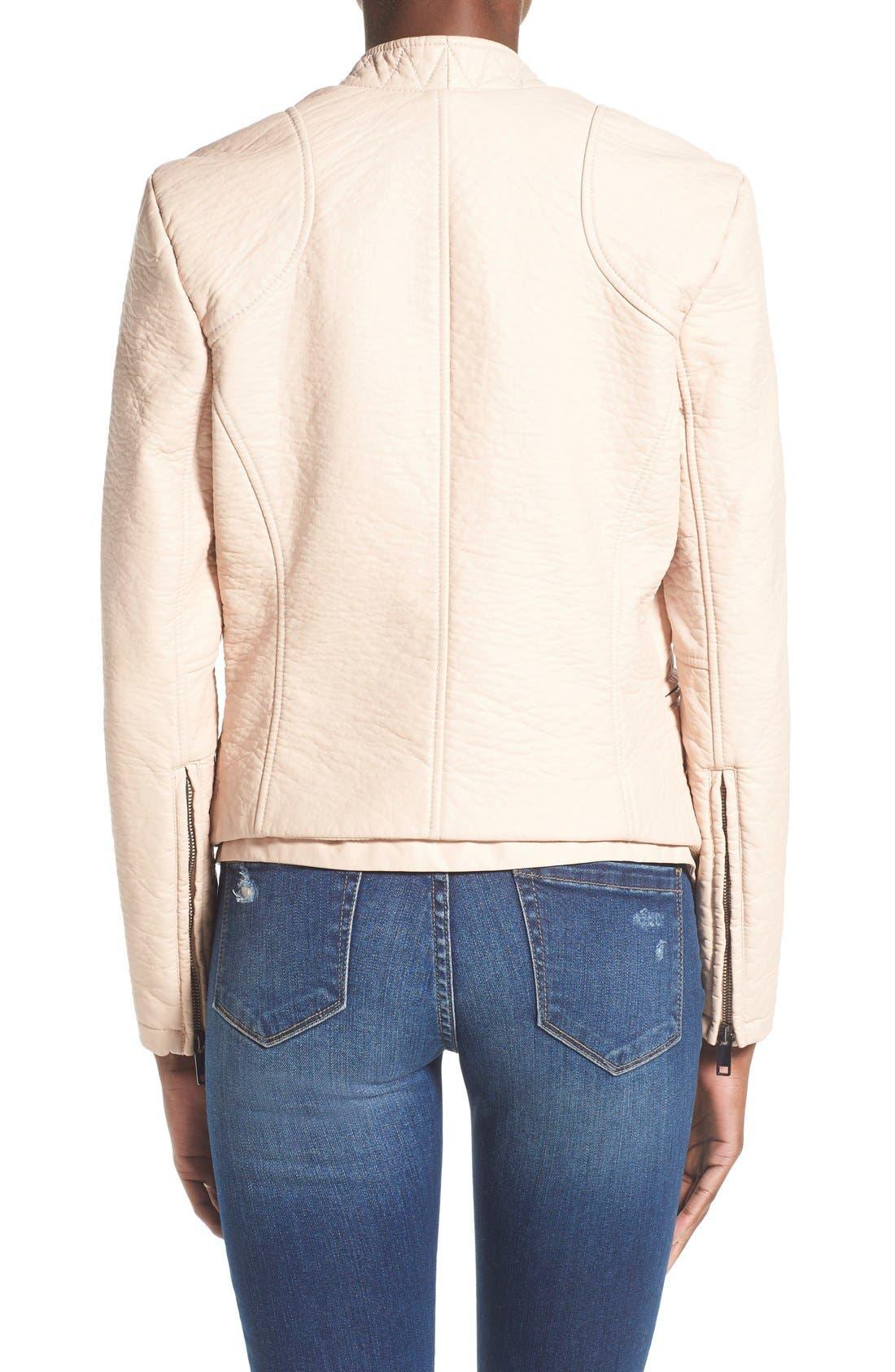 Alternate Image 2  - BLANKNYC Faux Leather Open Front Jacket