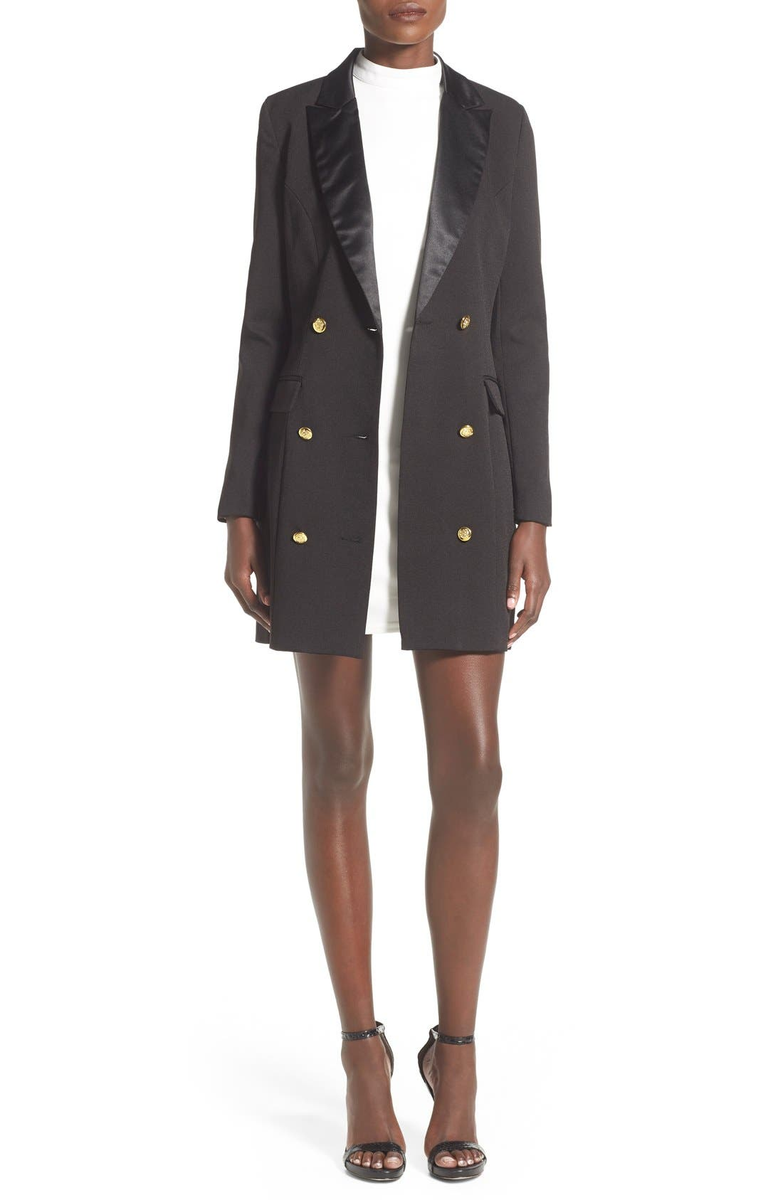 Alternate Image 1 Selected - Missguided Double Breasted Longline Blazer