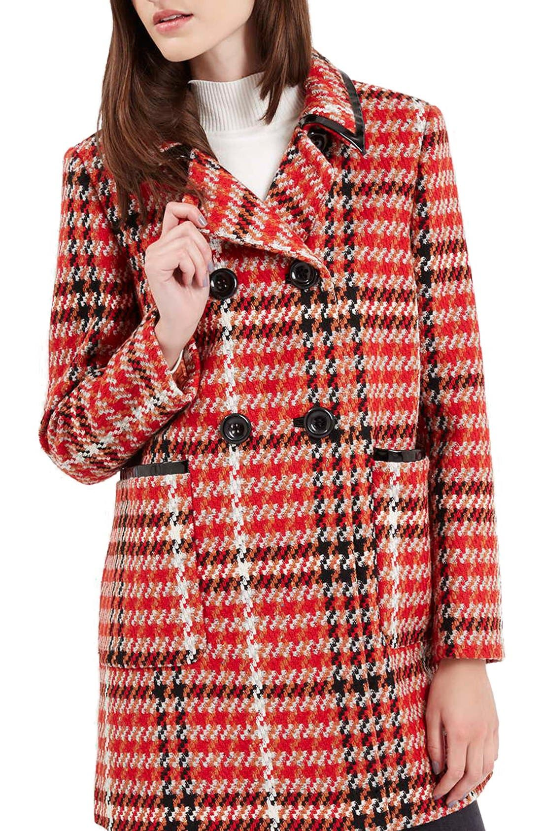 Check Double Breasted Coat,                             Main thumbnail 1, color,                             Red Multi