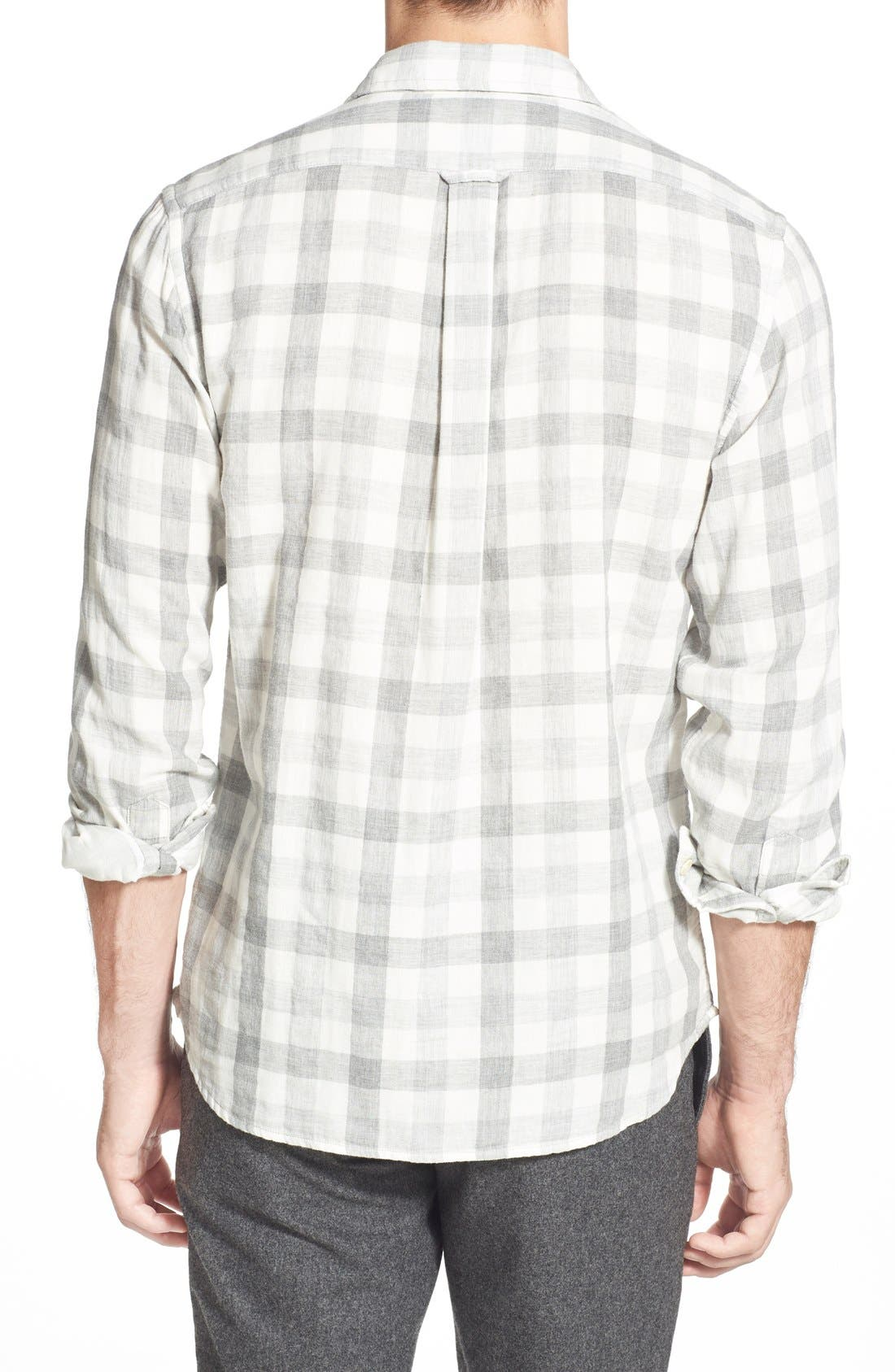 'Durham' Regular Fit Check Sport Shirt,                             Alternate thumbnail 3, color,                             Heather Grey Gingham