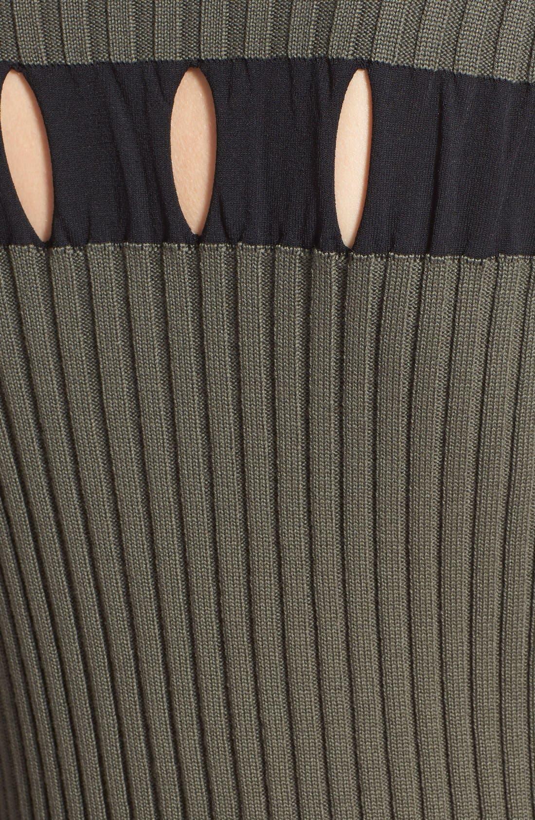 Alternate Image 3  - Alexander Wang Perforated Stripe Rib Knit Wool Dress