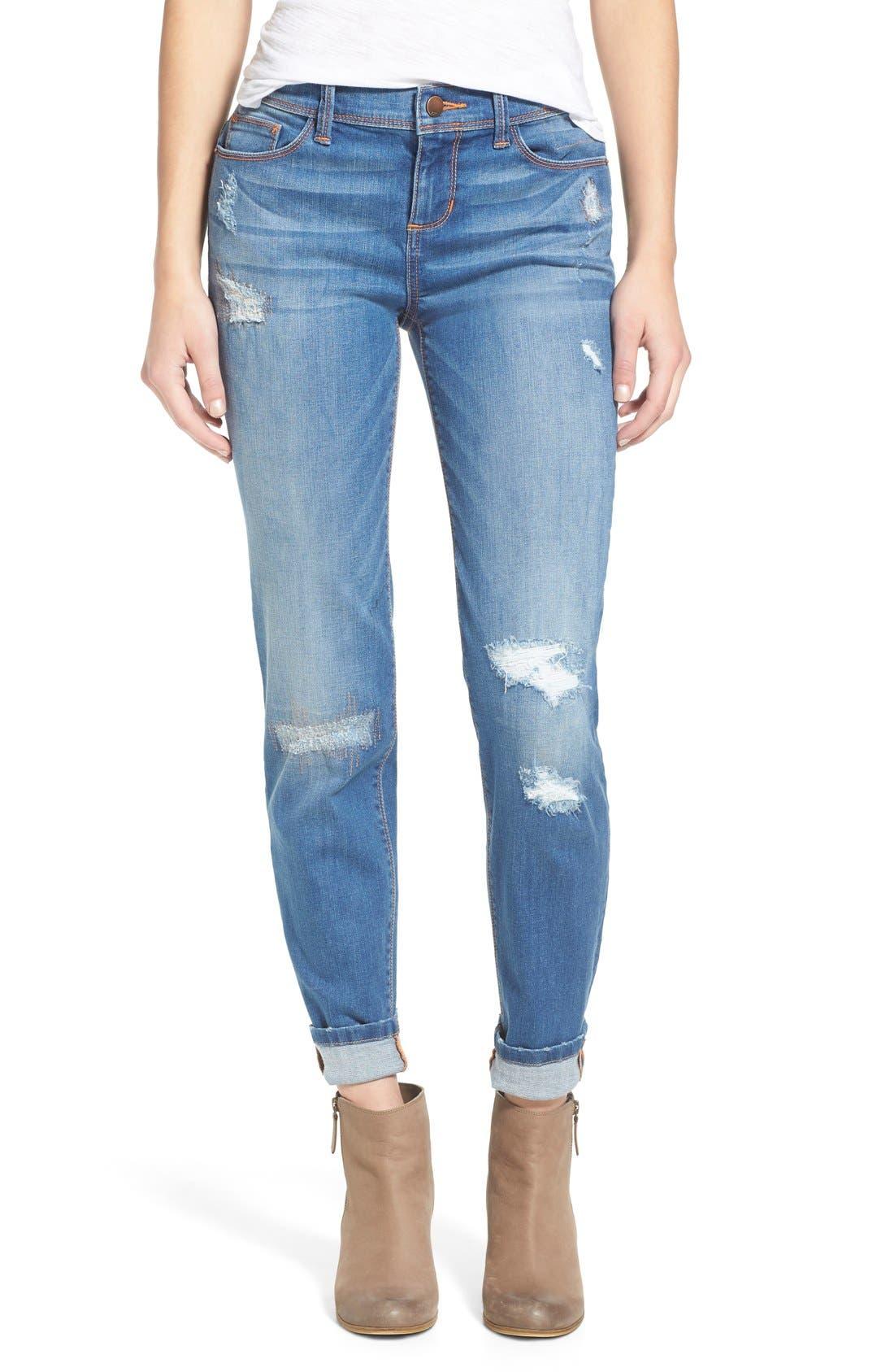 Main Image - SP Black Rip & Repair Skinny Jeans (Light Wash)