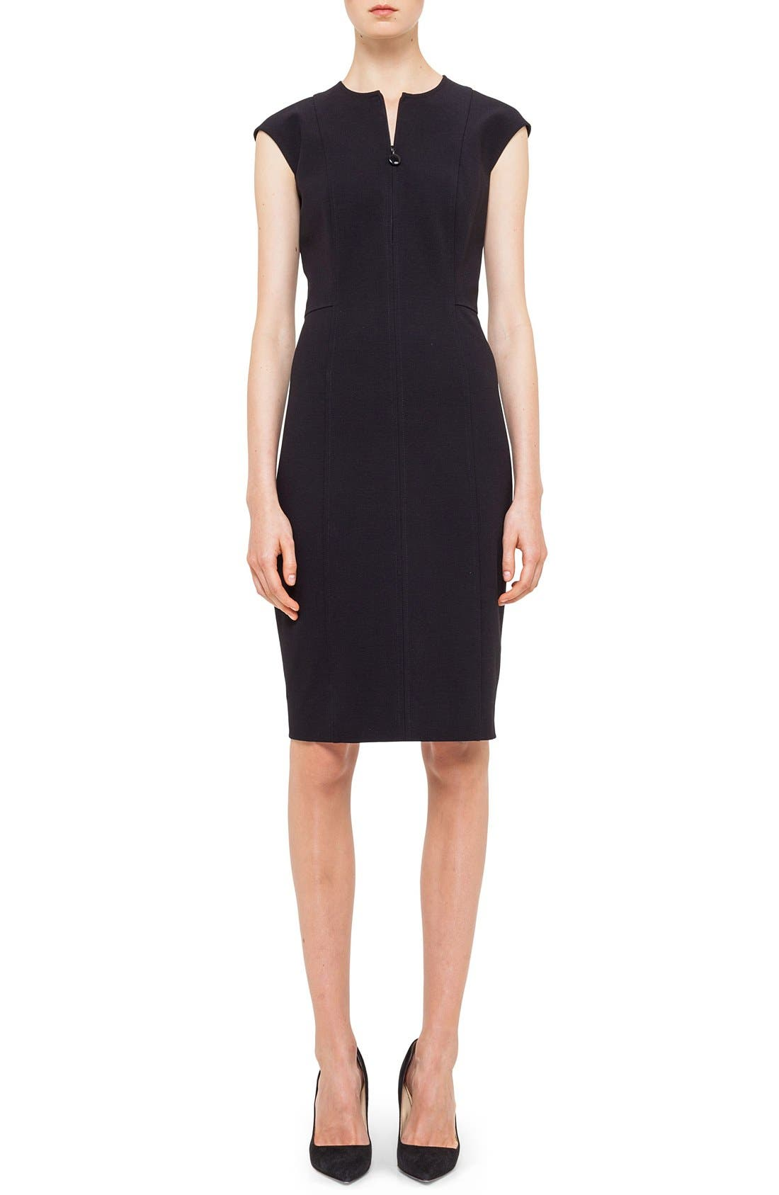 AKRIS PUNTO Cap Sleeve Sheath Dress