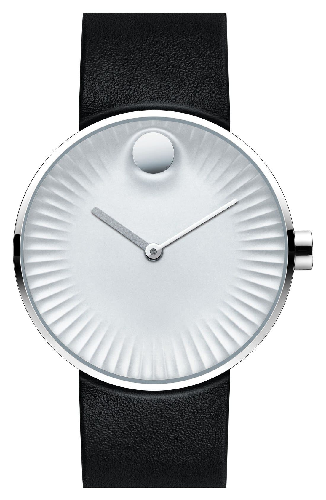 'Edge' Leather Strap Watch, 40mm,                         Main,                         color, Black/ Silver