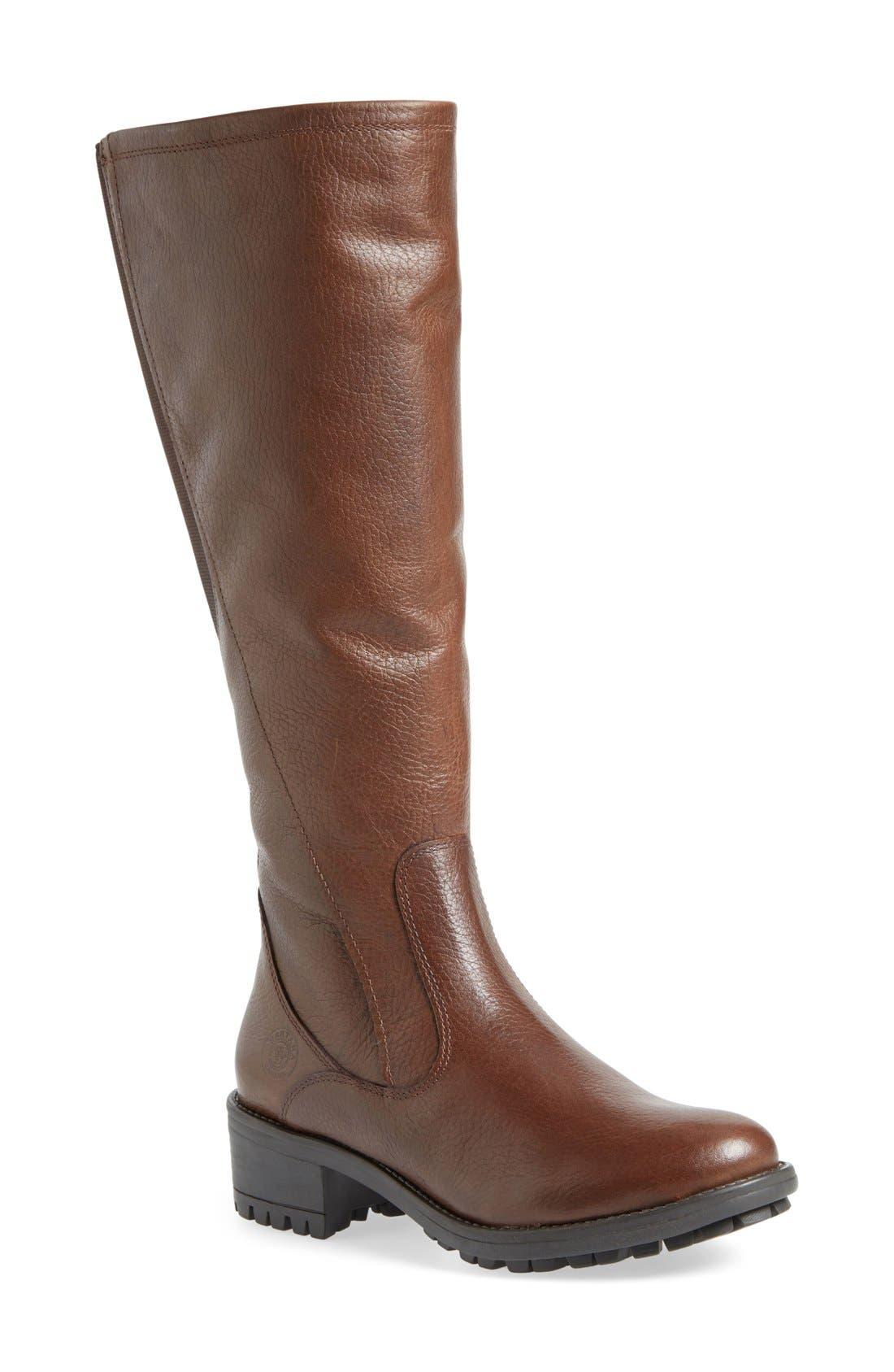 'Andrea' Waterproof Boot,                             Main thumbnail 1, color,                             Brown Pebbled Leather Regular