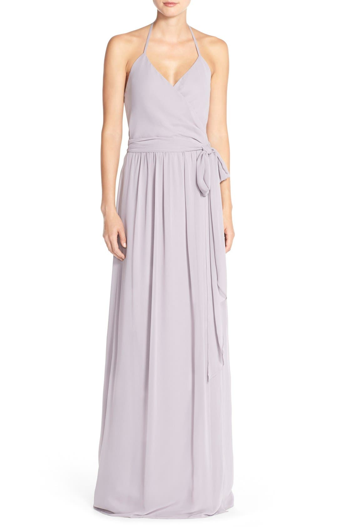 Alternate Image 1 Selected - Joanna August DC Halter Wrap Chiffon Gown