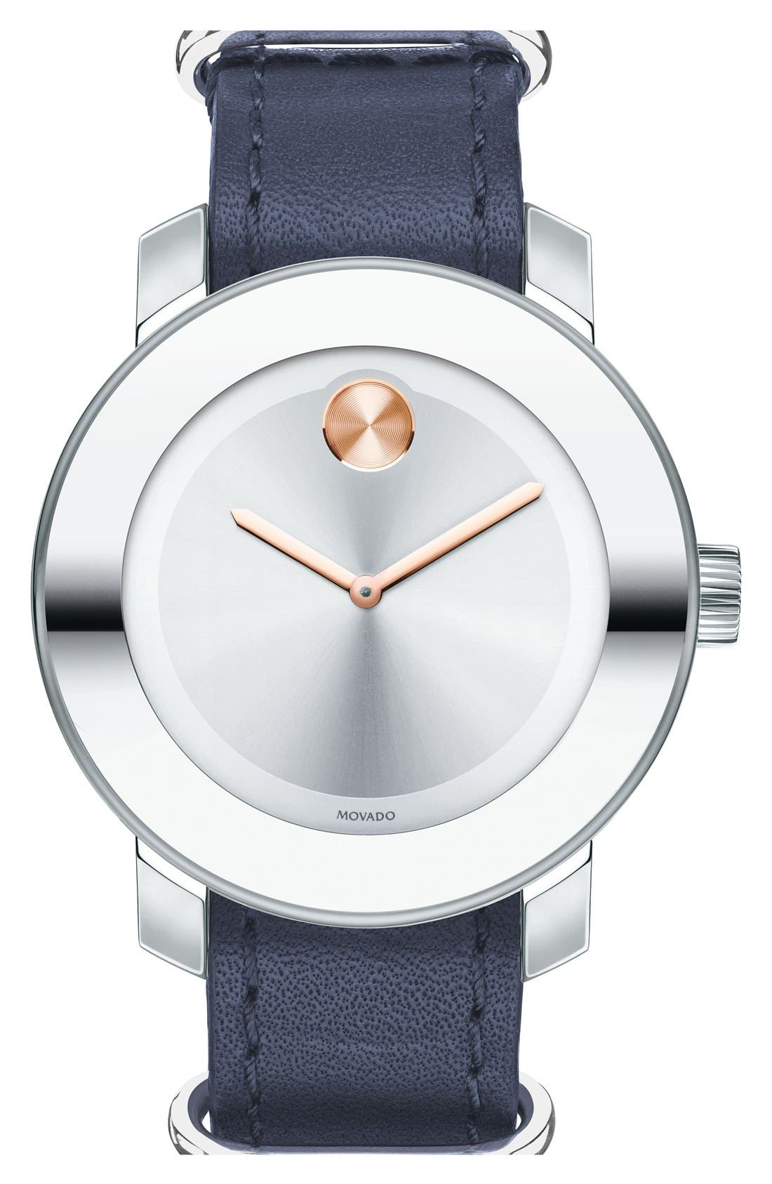 Main Image - Movado 'Bold' Leather Strap Watch, 36mm