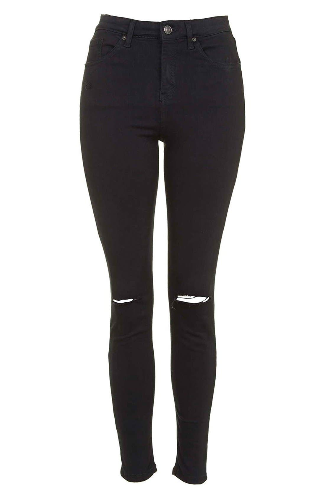 Moto 'Jamie' Ripped Crop Skinny Jeans,                             Alternate thumbnail 4, color,                             Black