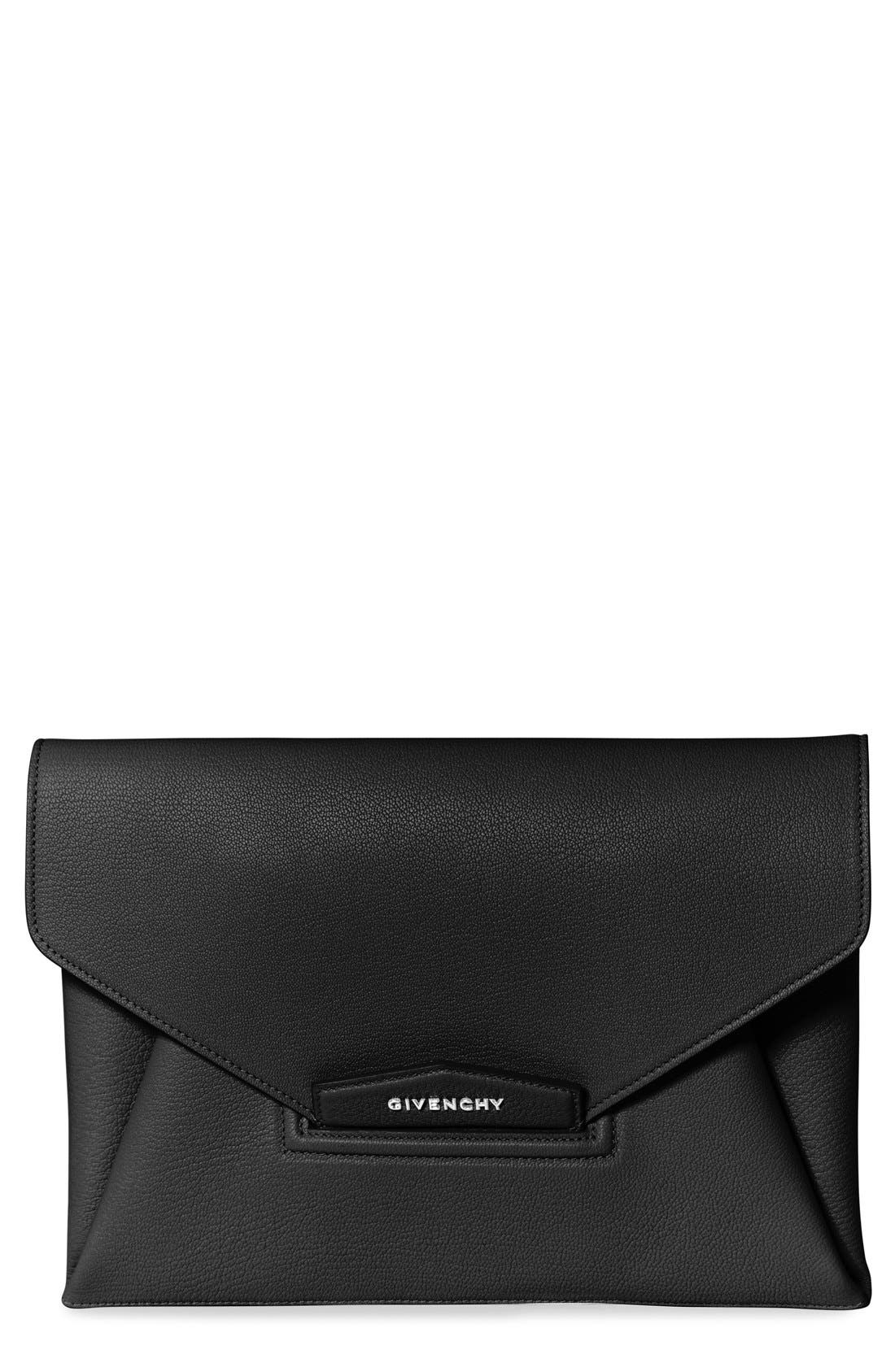 GIVENCHY Medium Antigona Leather Envelope Clutch