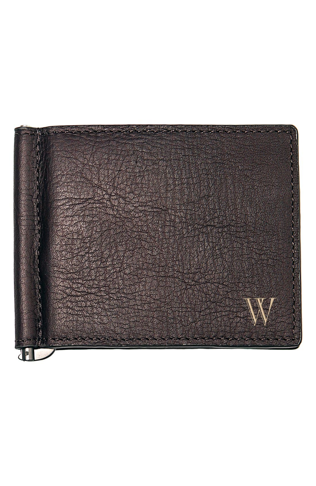 Alternate Image 1 Selected - Cathy's Concepts Monogram Leather Wallet & Money Clip