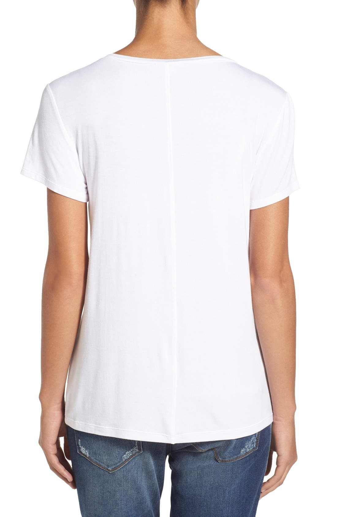 Modal Jersey V-Neck Tee,                             Alternate thumbnail 2, color,                             White