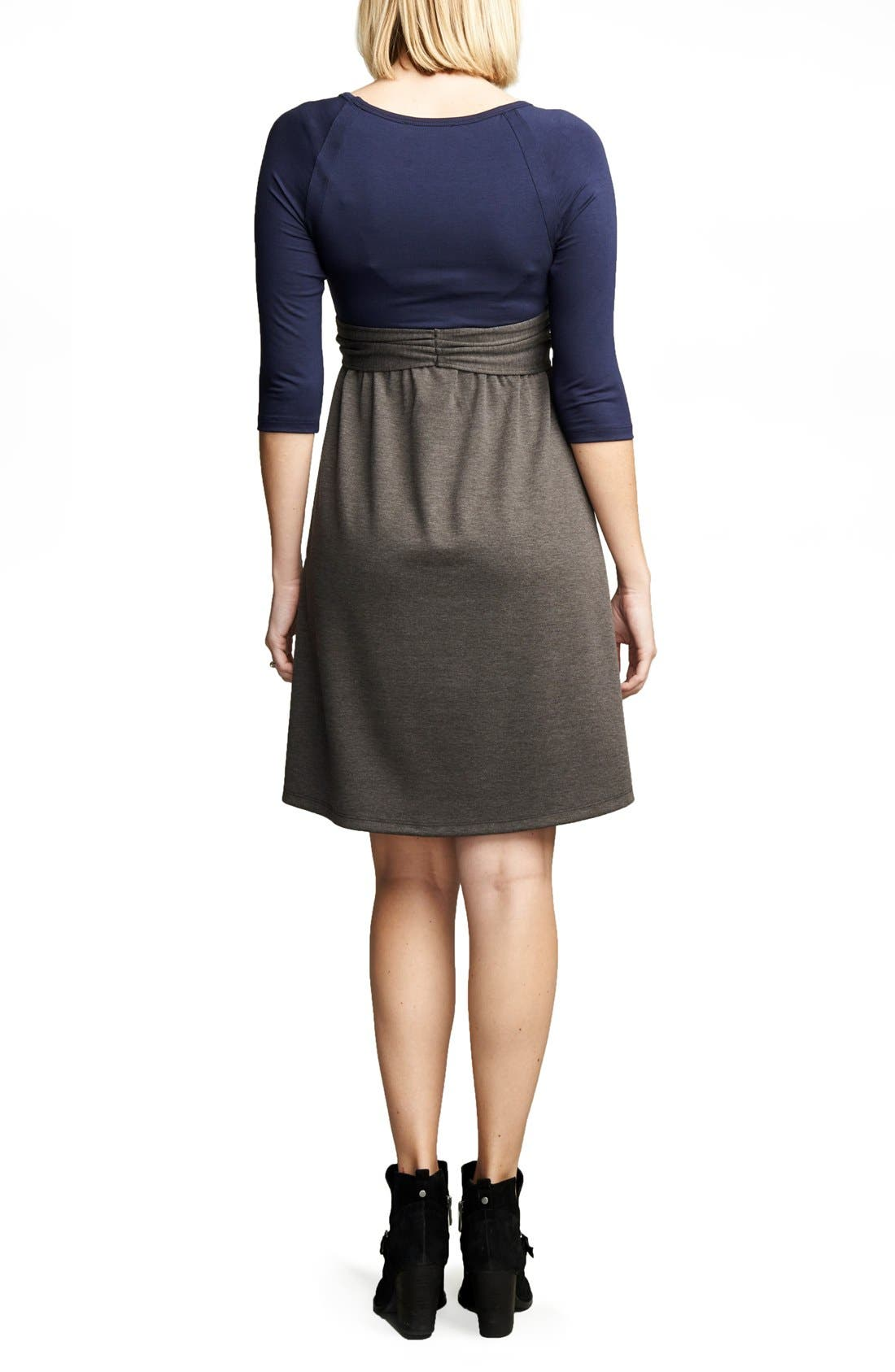 Tie Front Maternity Dress,                             Alternate thumbnail 2, color,                             Navy/Charcoal