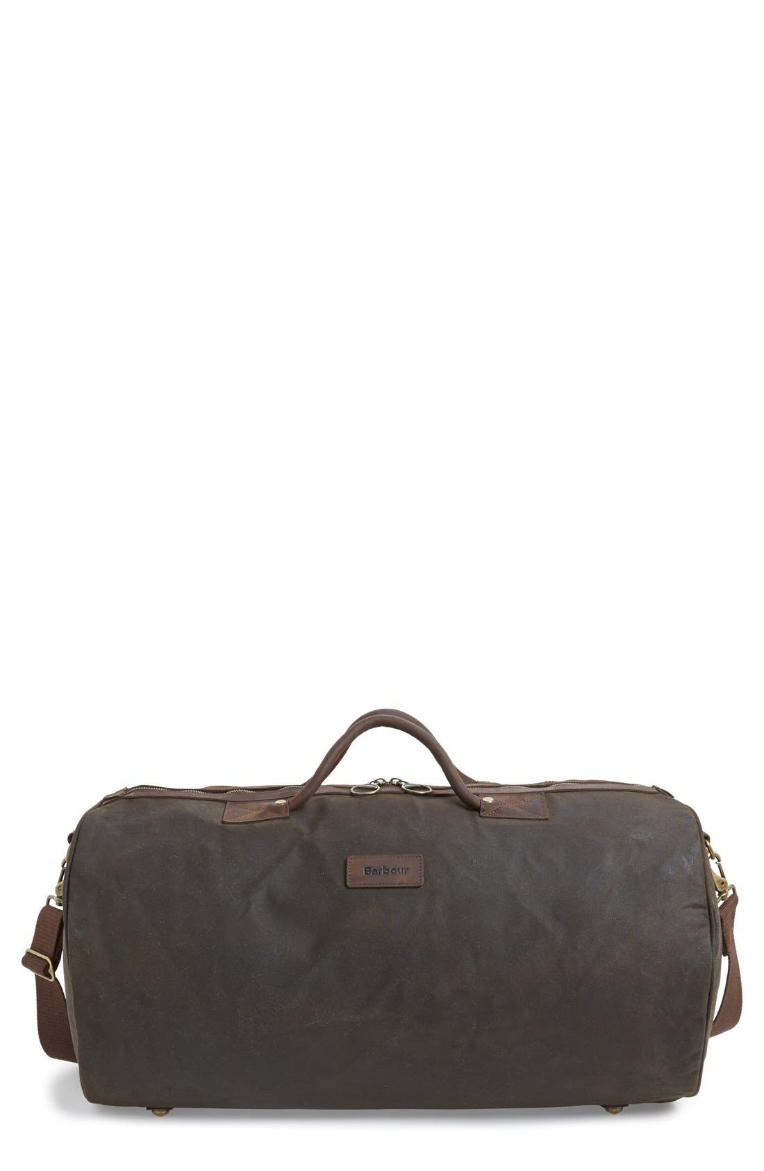 Waxed Canvas Duffel Bag,                             Main thumbnail 1, color,                             Olive