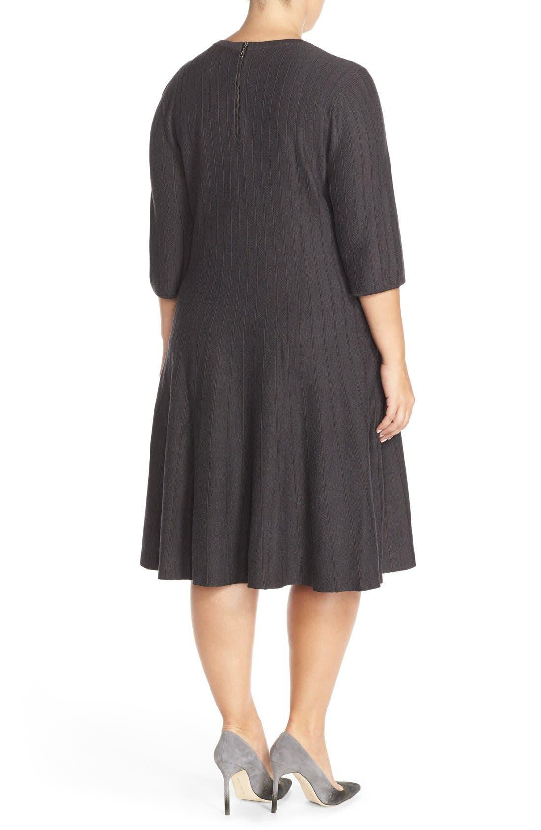 'Twirl' Elbow Sleeve Knit Fit & Flare Dress,                             Alternate thumbnail 3, color,                             Phantom Heather